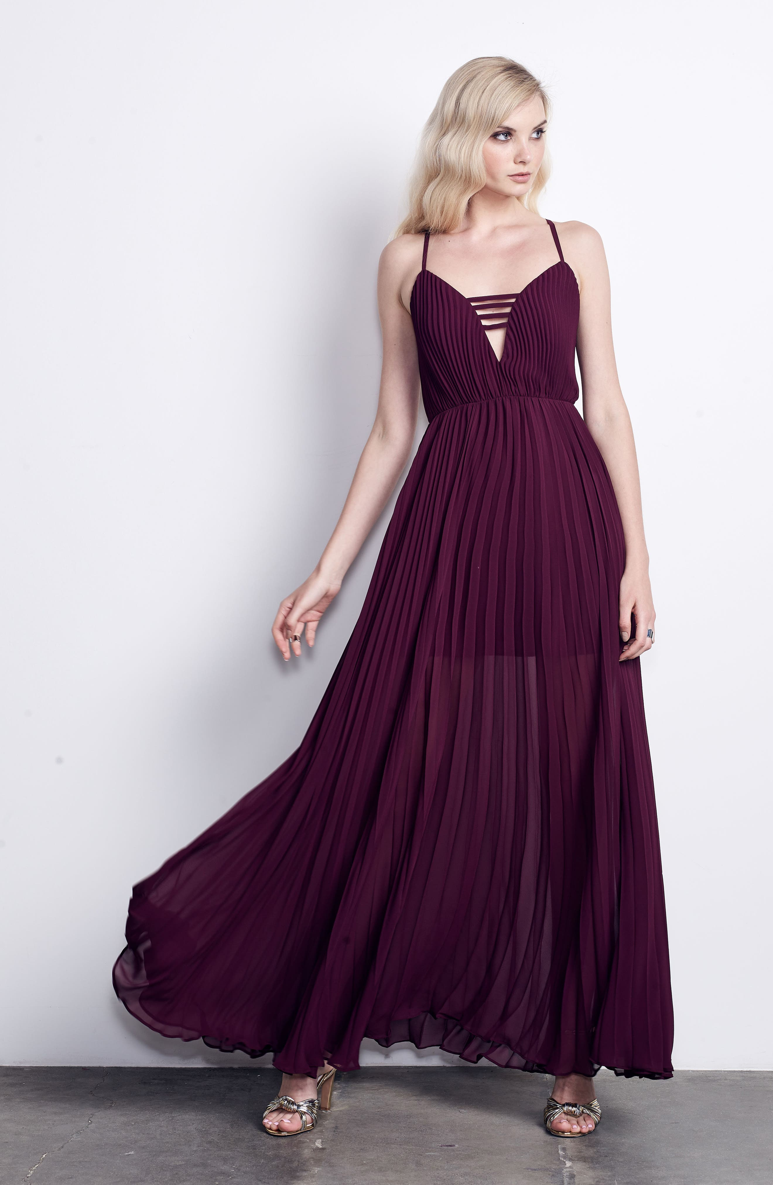 She Is A Regular Pleated Maxi Dress,                             Alternate thumbnail 6, color,                             Wine