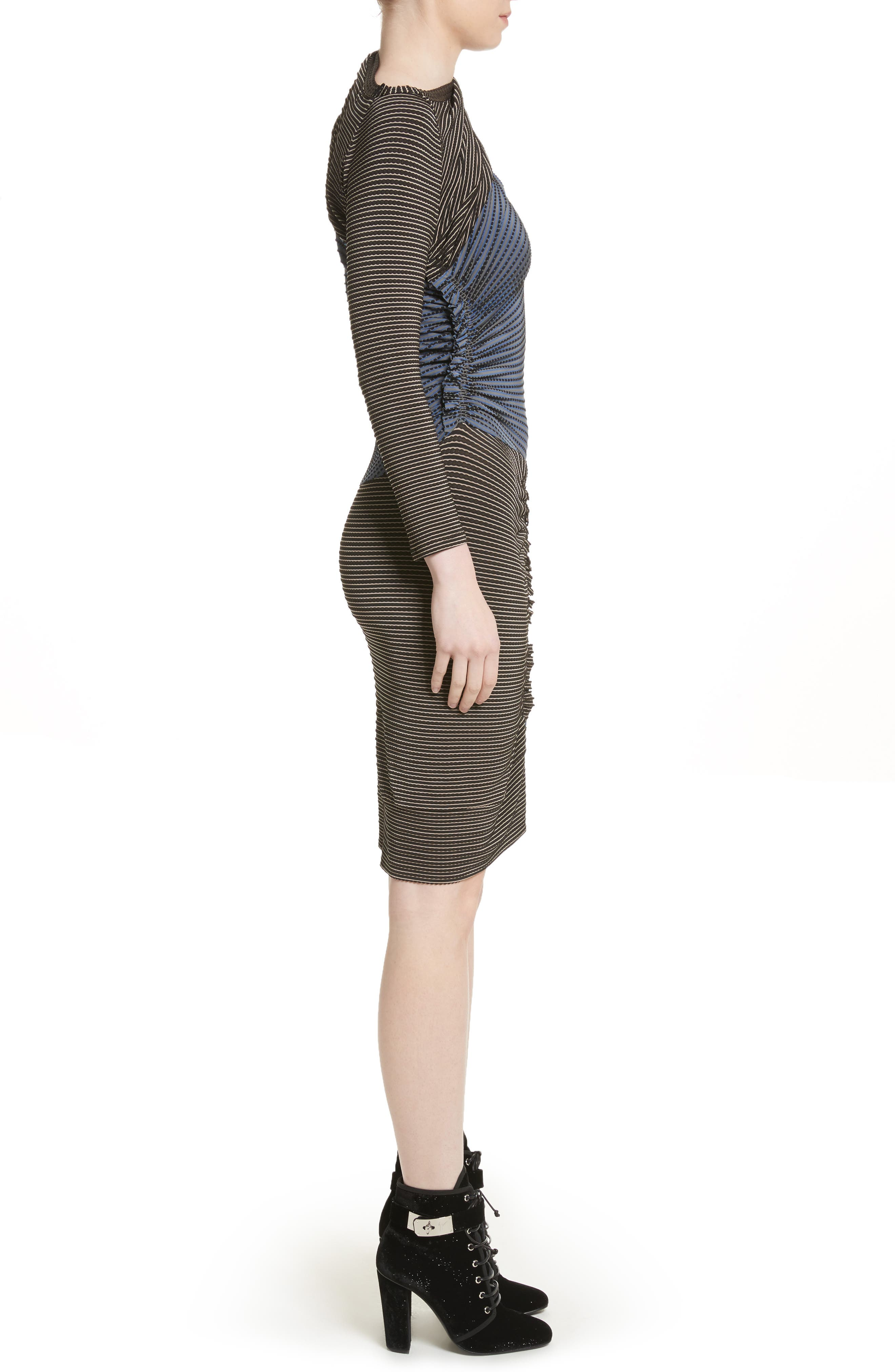 Gathered Jersey Jacquard Dress,                             Alternate thumbnail 3, color,                             Blue/ Black