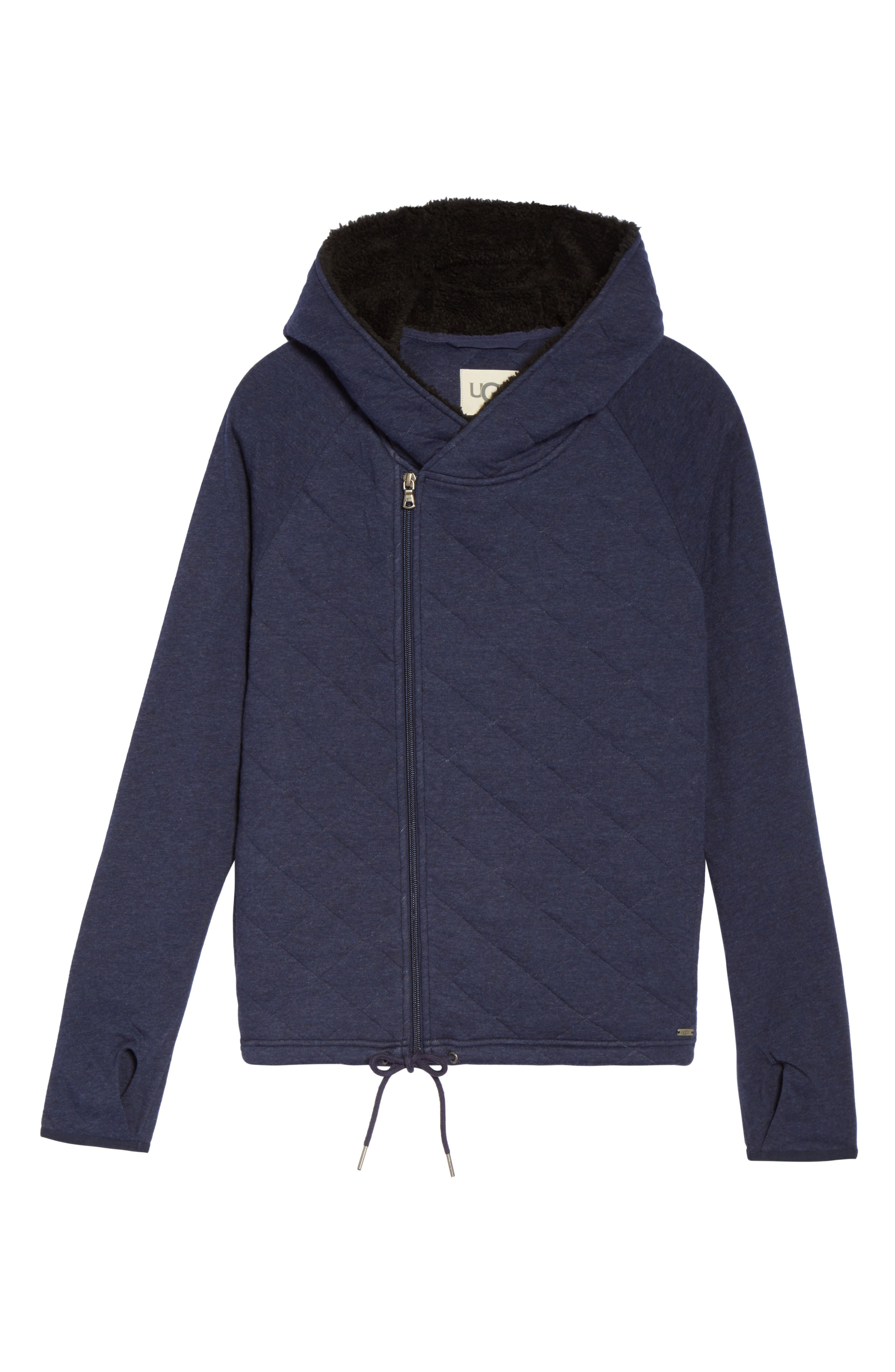 Australia Faux Shearling Lined Hoodie,                             Alternate thumbnail 4, color,                             Navy Heather