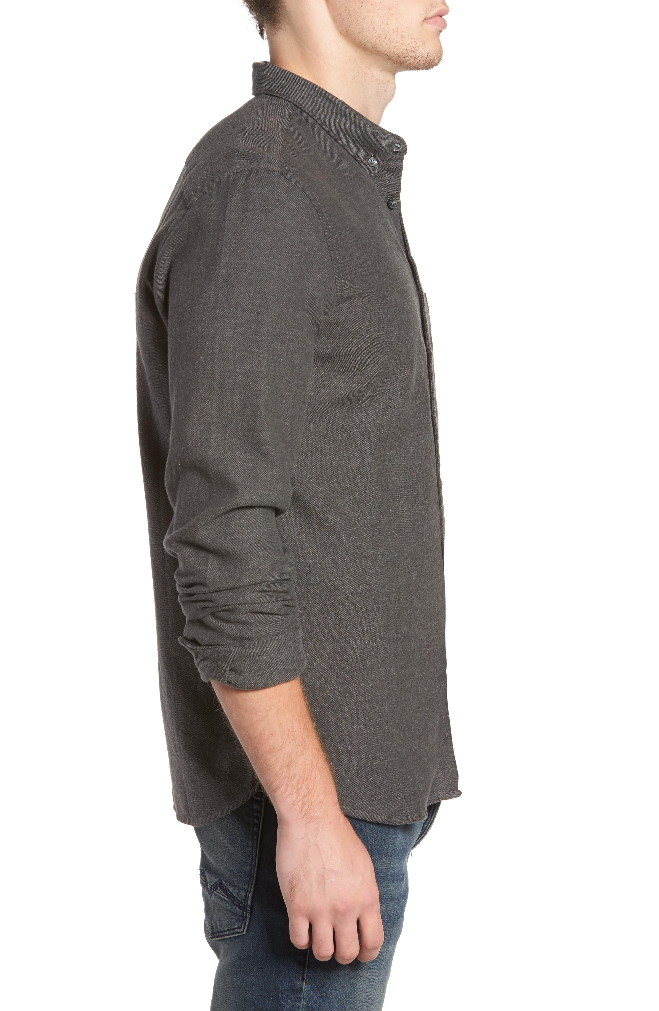 Regular Fit Flannel Sport Shirt,                             Alternate thumbnail 3, color,                             Charcoal Mel