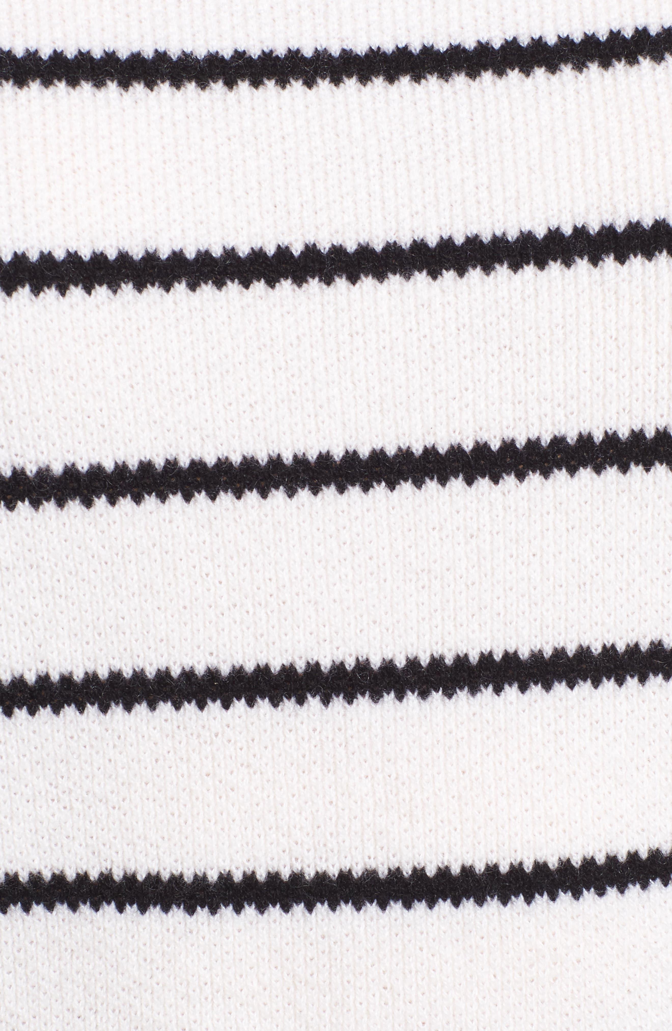 Stripe Cashmere Sweater,                             Alternate thumbnail 8, color,                             Ivory- Black Stripe