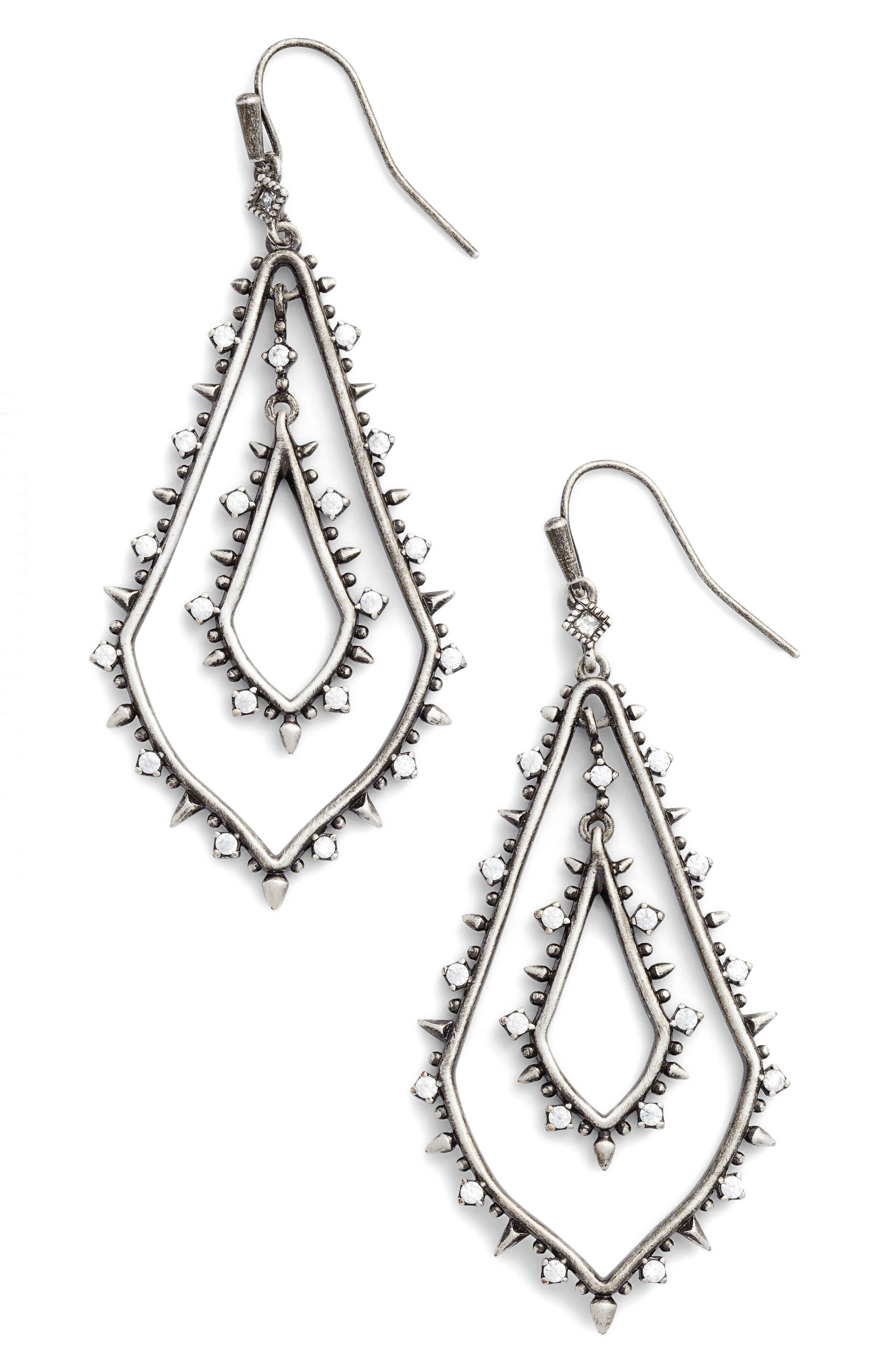 Alice Drop Earrings,                         Main,                         color, Antique Silver