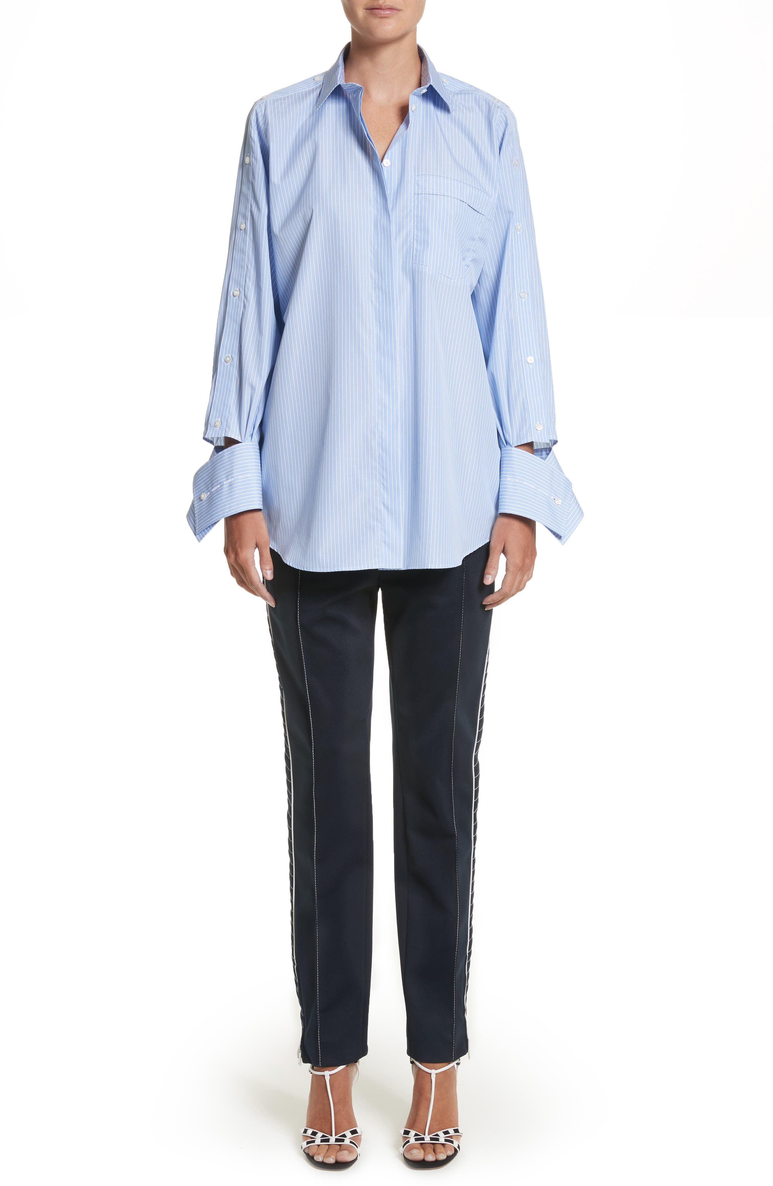 Cutaway Sleeve Cotton Poplin Shirt,                             Alternate thumbnail 8, color,                             Blue / White