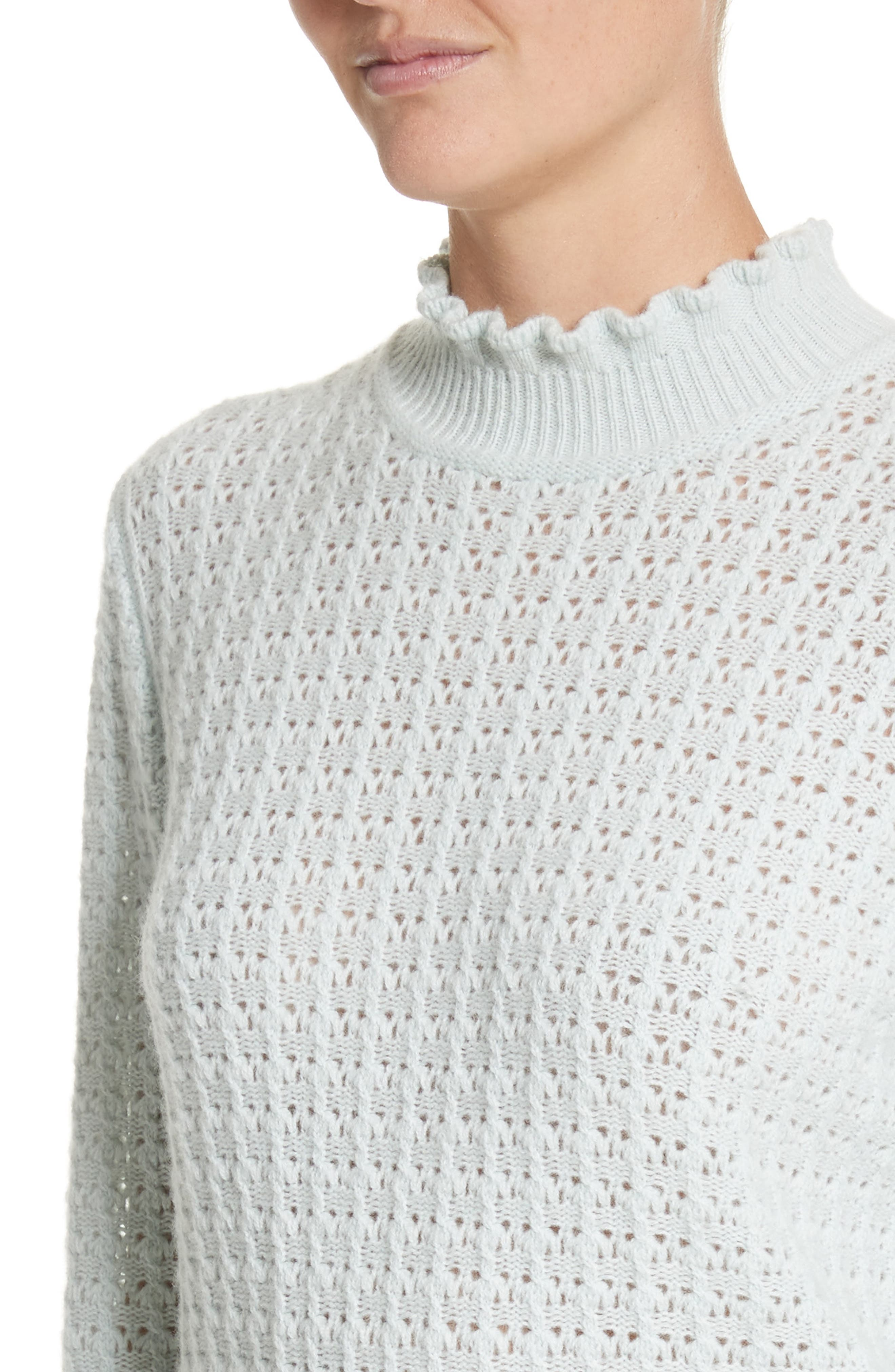 Ruffle Mock Neck Cashmere Sweater,                             Alternate thumbnail 4, color,                             Pale Green