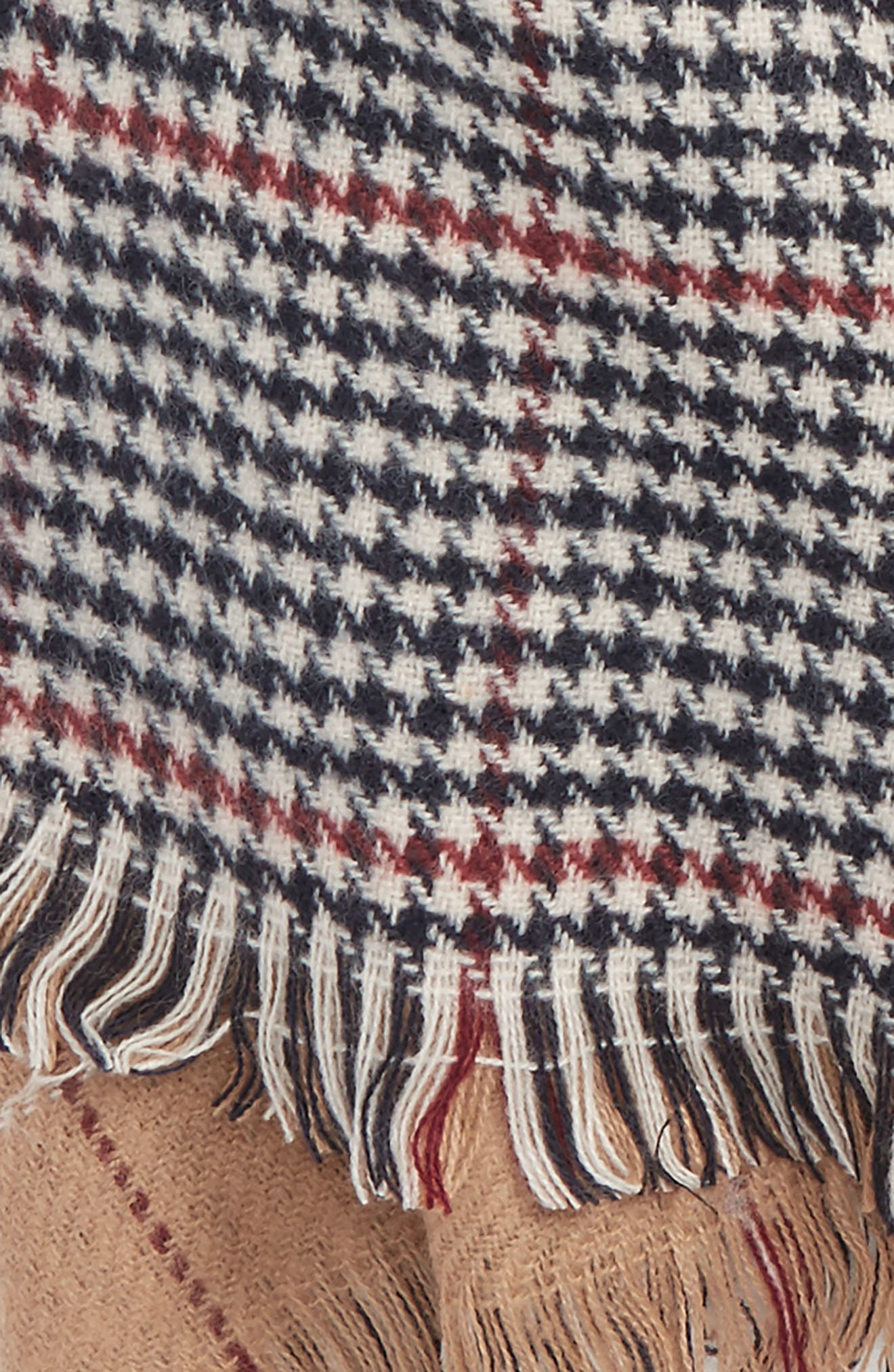 Reversible Houndstooth & Grid Scarf,                             Alternate thumbnail 4, color,                             Tan Multi