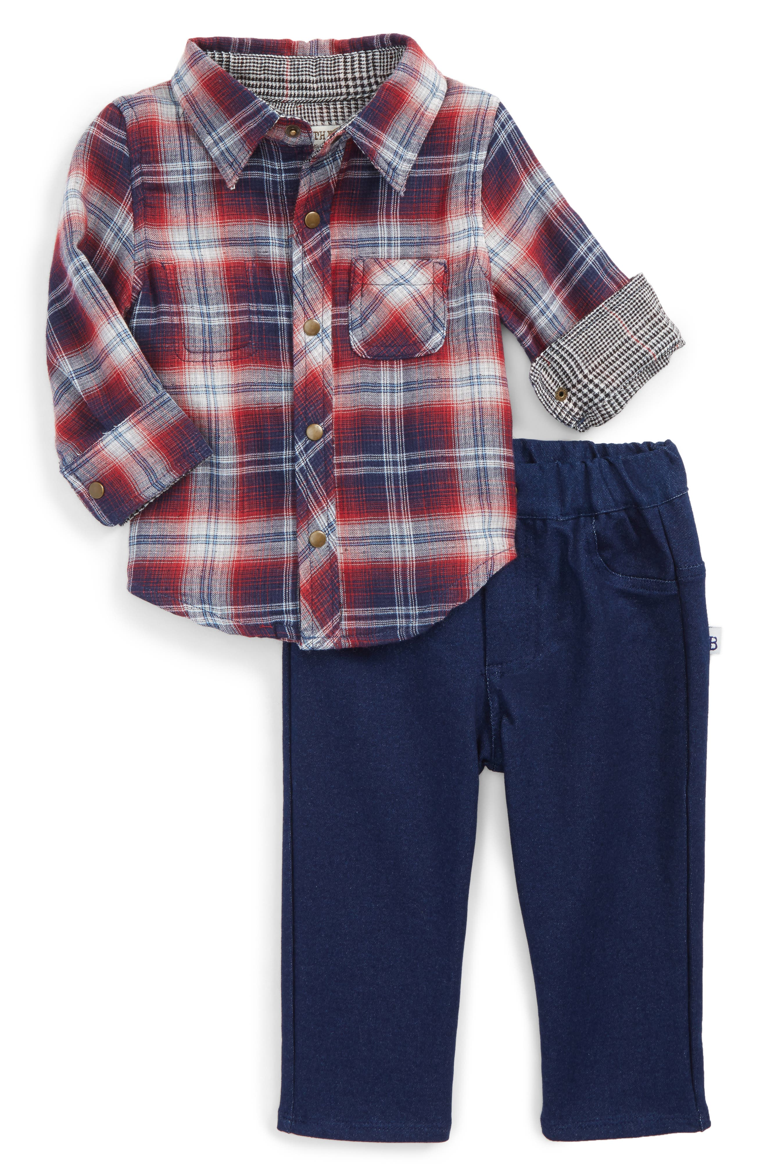 Little Brother by Pippa & Julie Reversible Woven Shirt & Pants Set (Baby Boys)