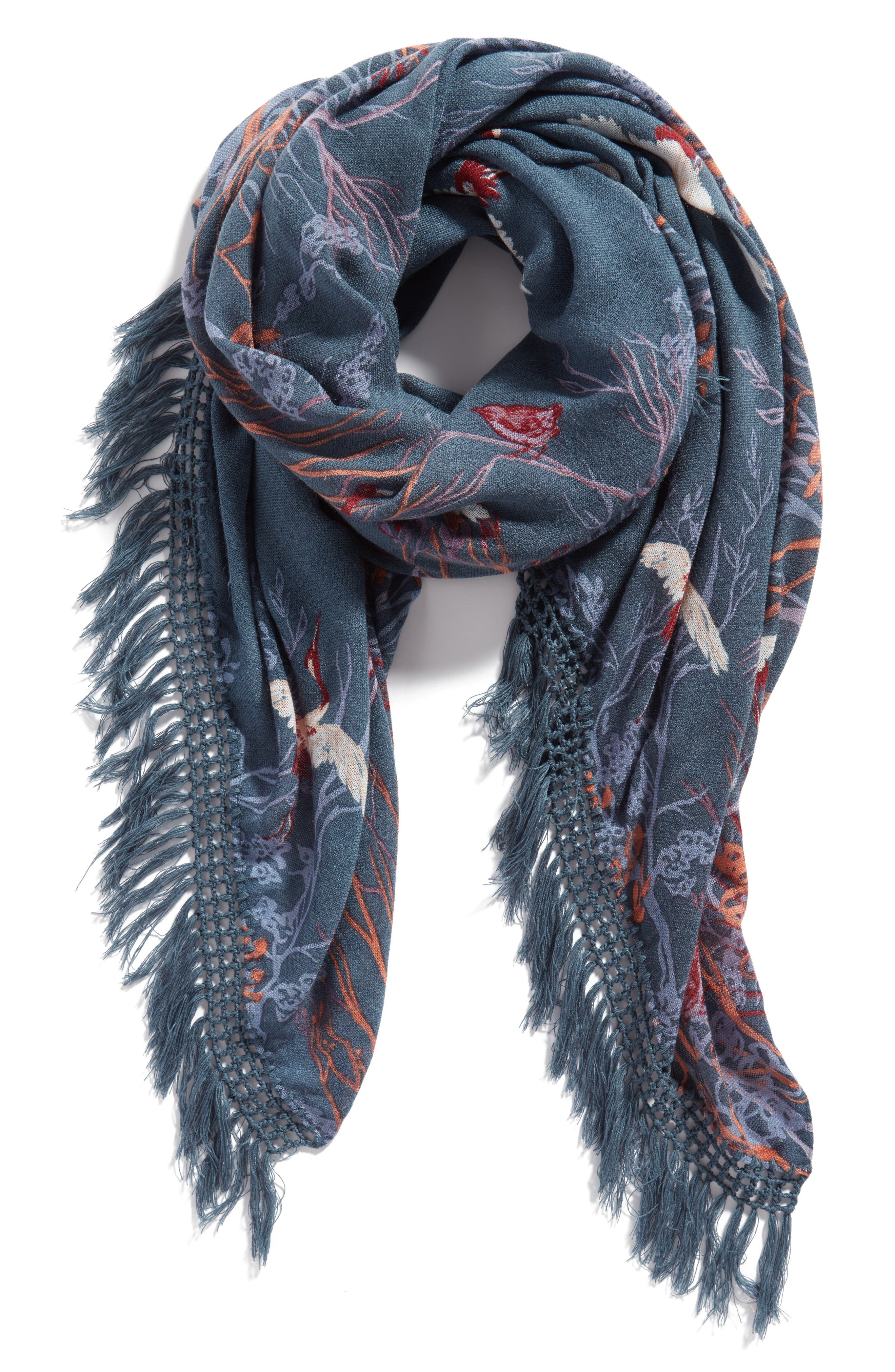 Foliage Forest Fringe Scarf,                             Alternate thumbnail 3, color,                             Teal Combo
