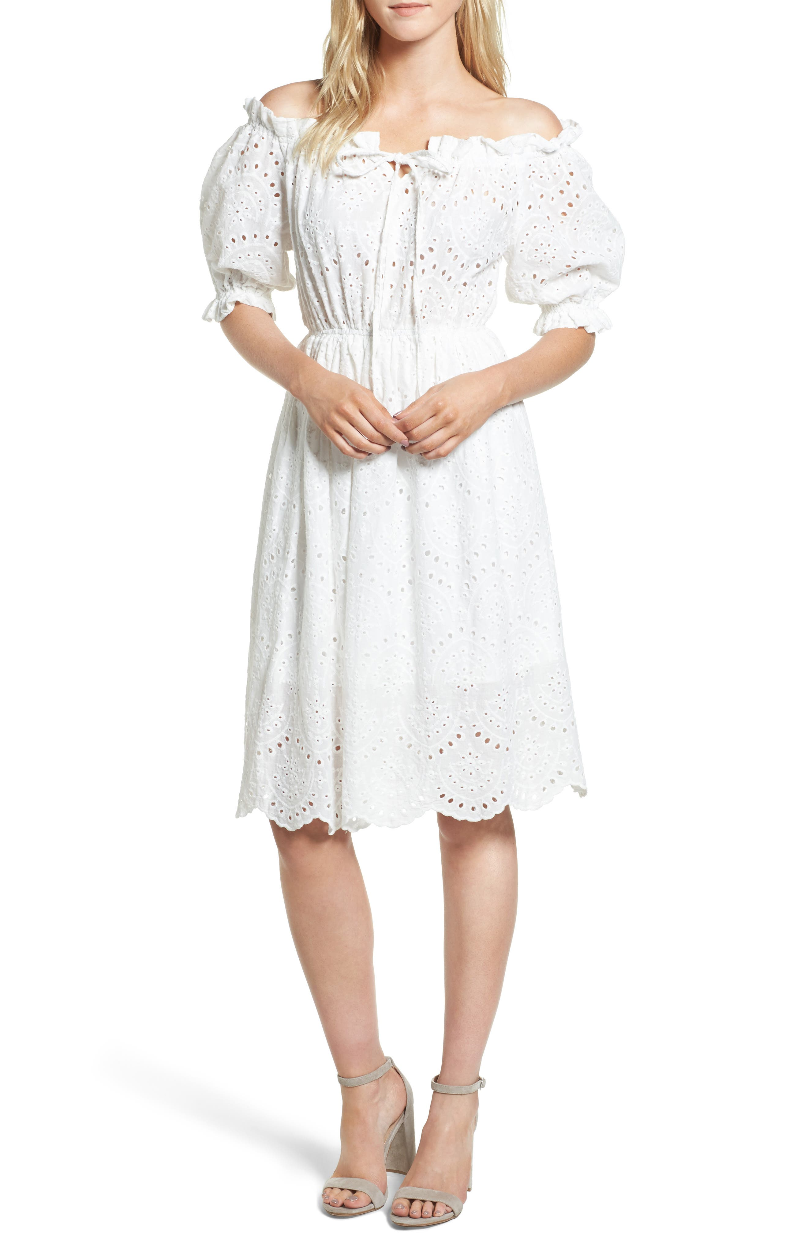 The White Party Off the Shoulder Dress,                         Main,                         color, White