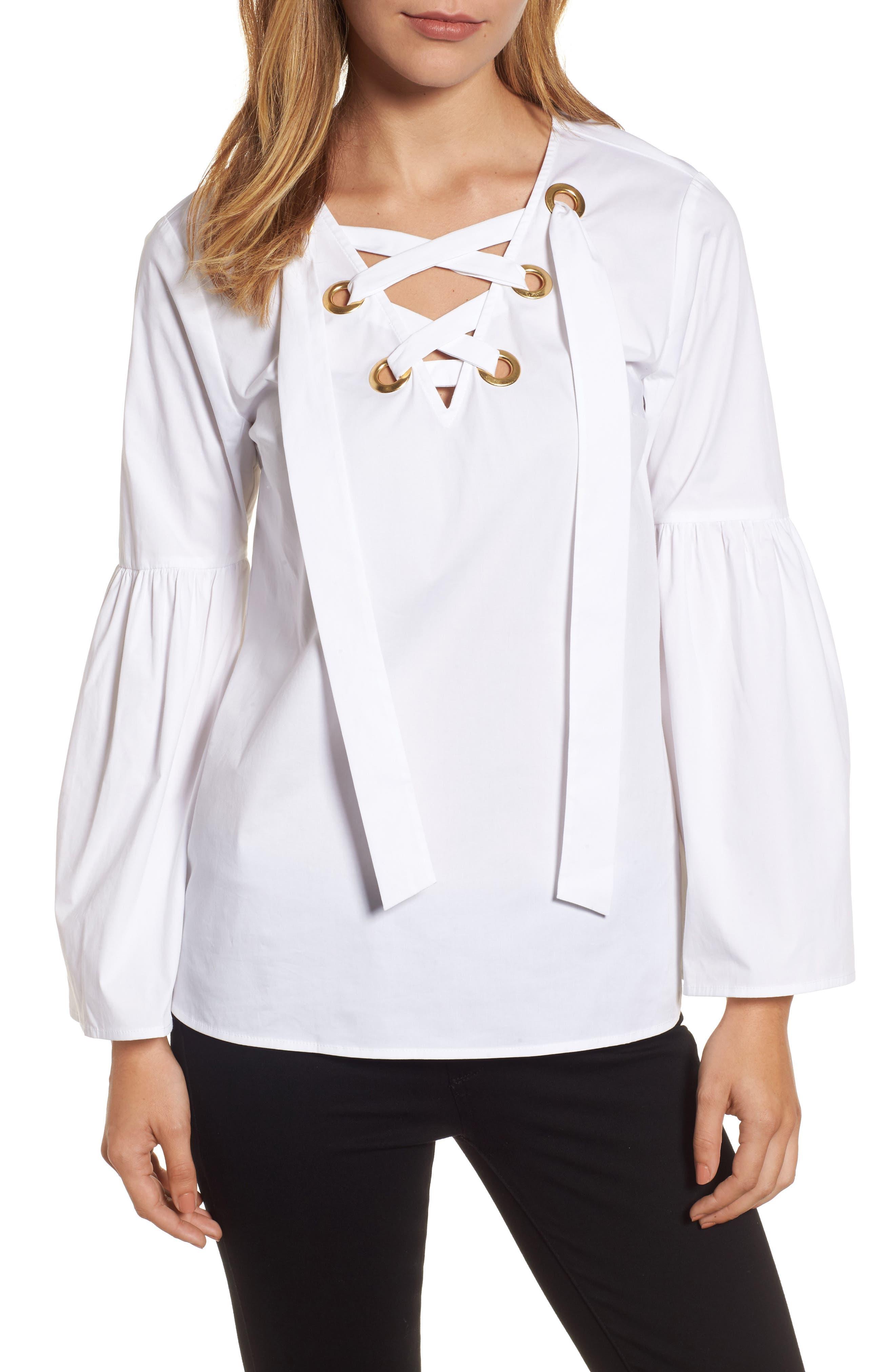 Poplin Grommet Lace-Up Top,                         Main,                         color, White