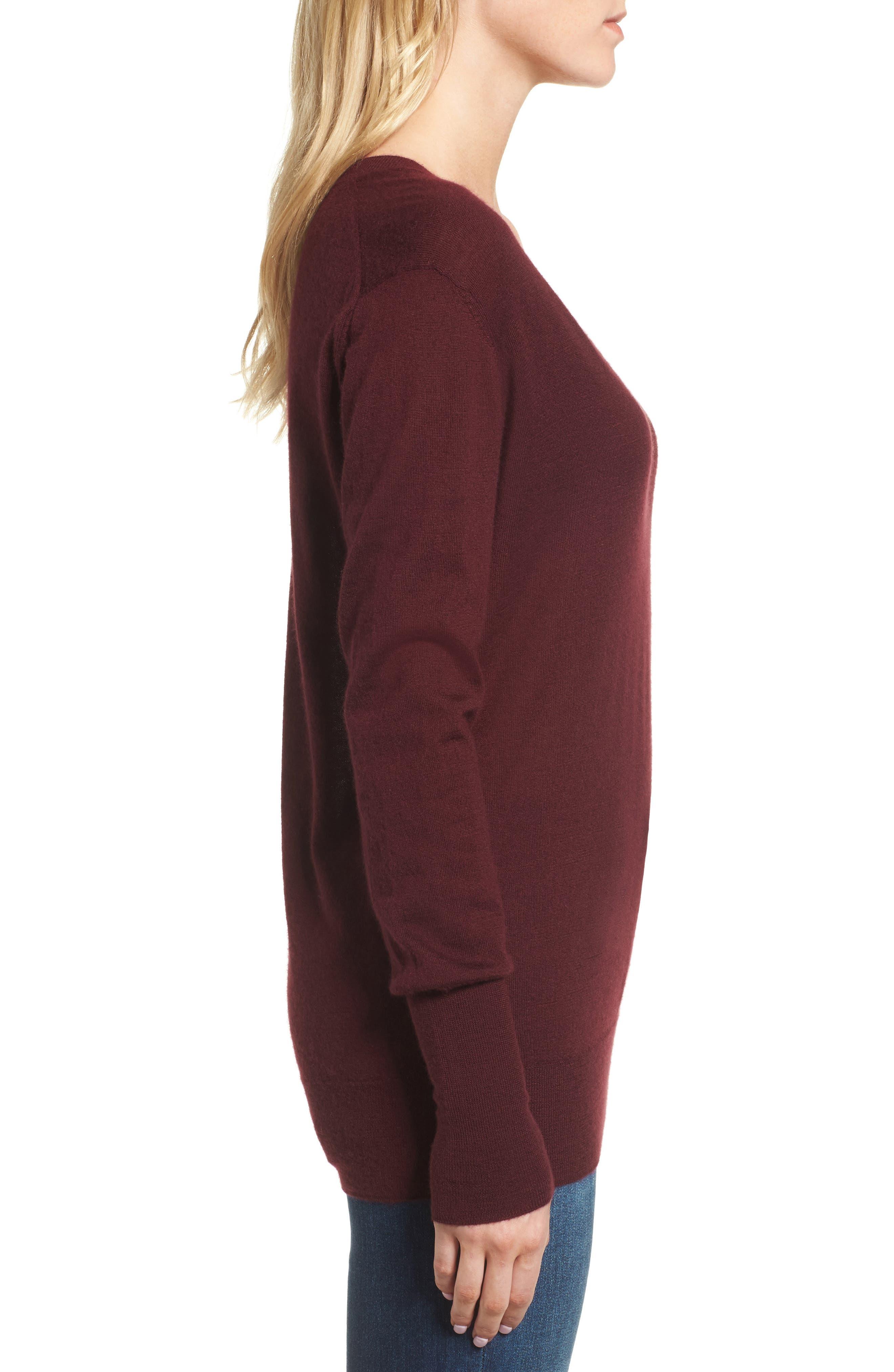 Uma V-Neck Cashmere Sweater,                             Alternate thumbnail 3, color,                             Deep Currant