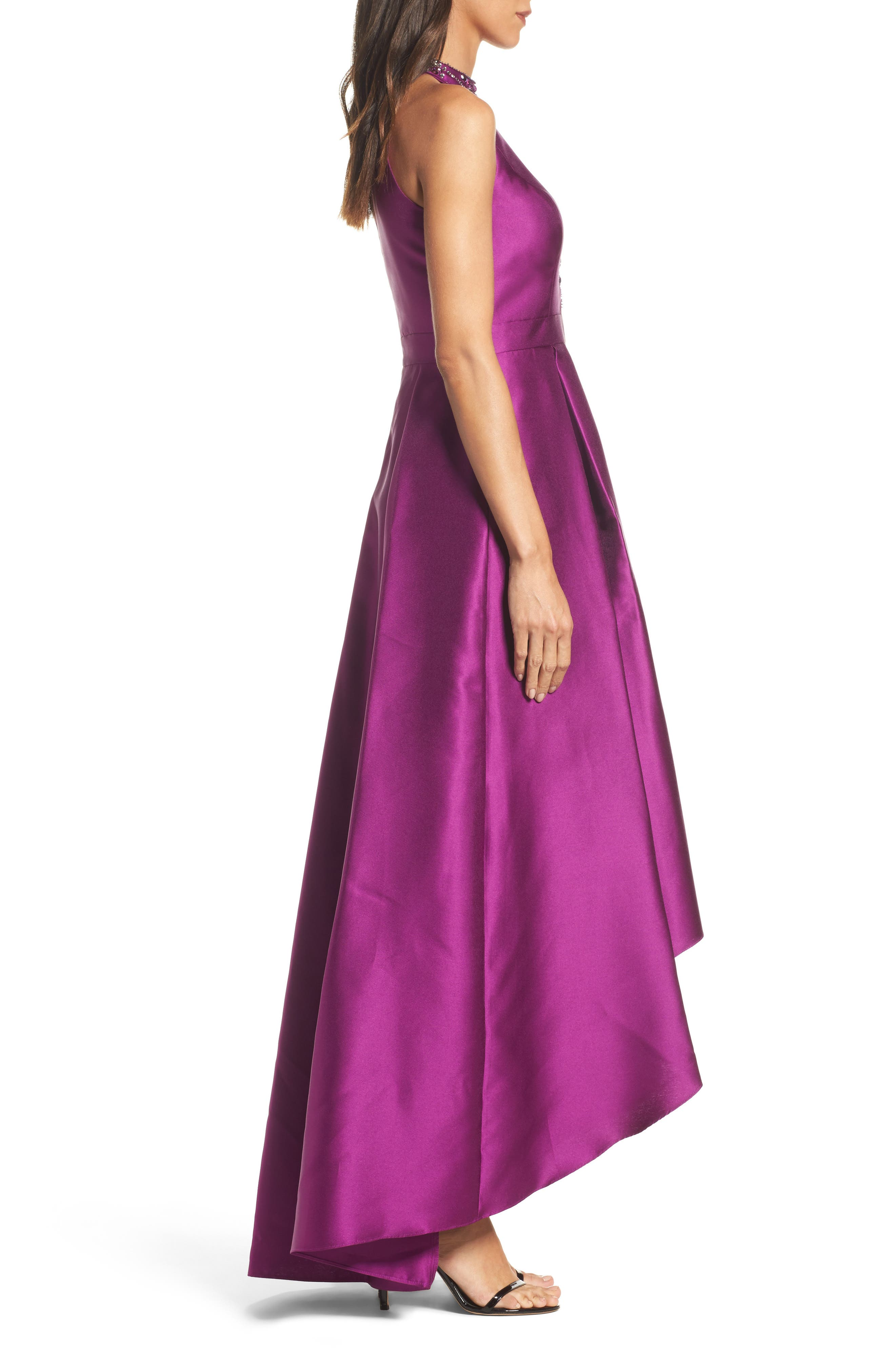 Embellished Mikado High/Low Gown,                             Alternate thumbnail 3, color,                             Ultra Berry