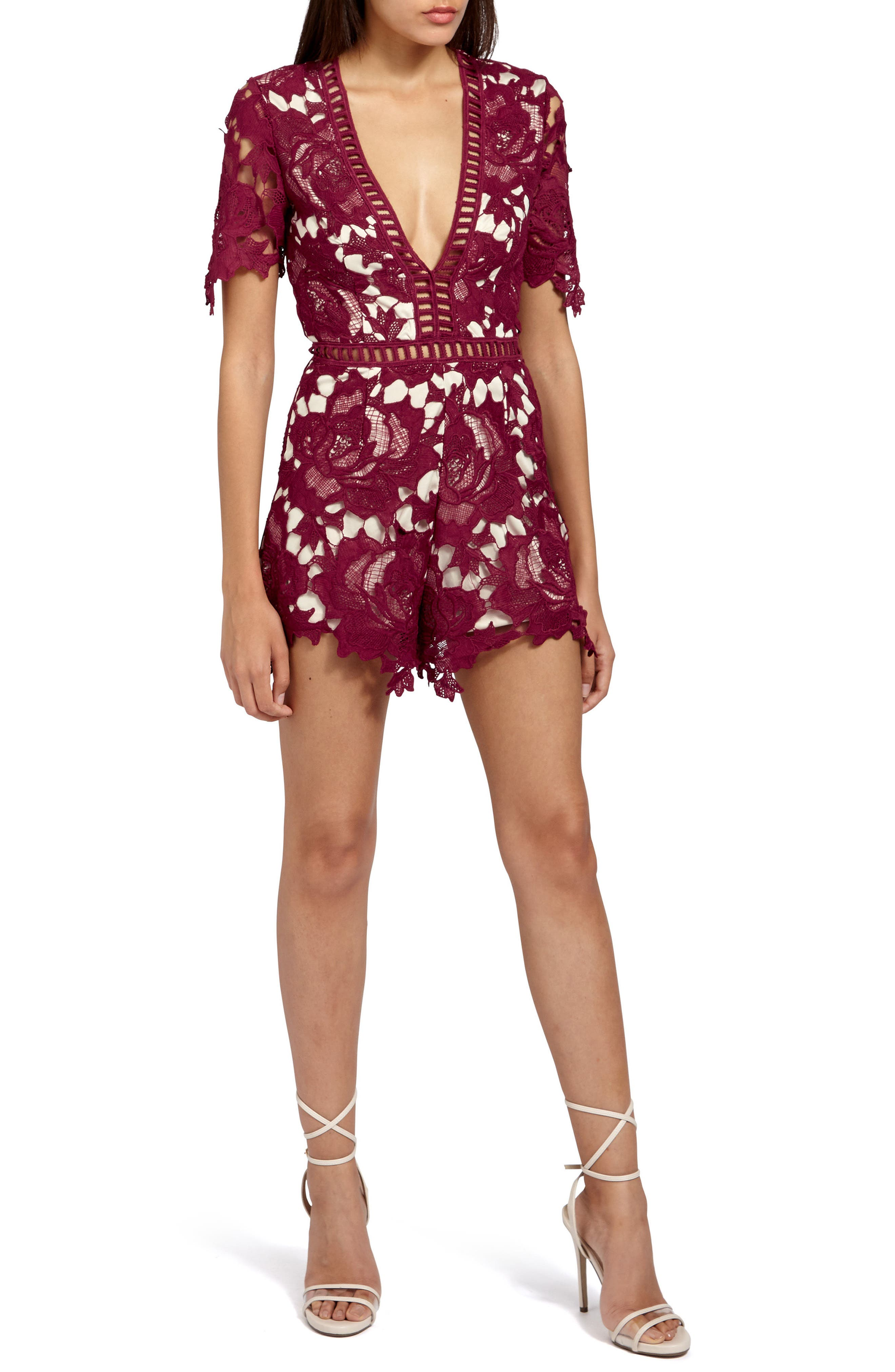 Ladder Stitch Lace Romper,                             Main thumbnail 1, color,                             Burgundy