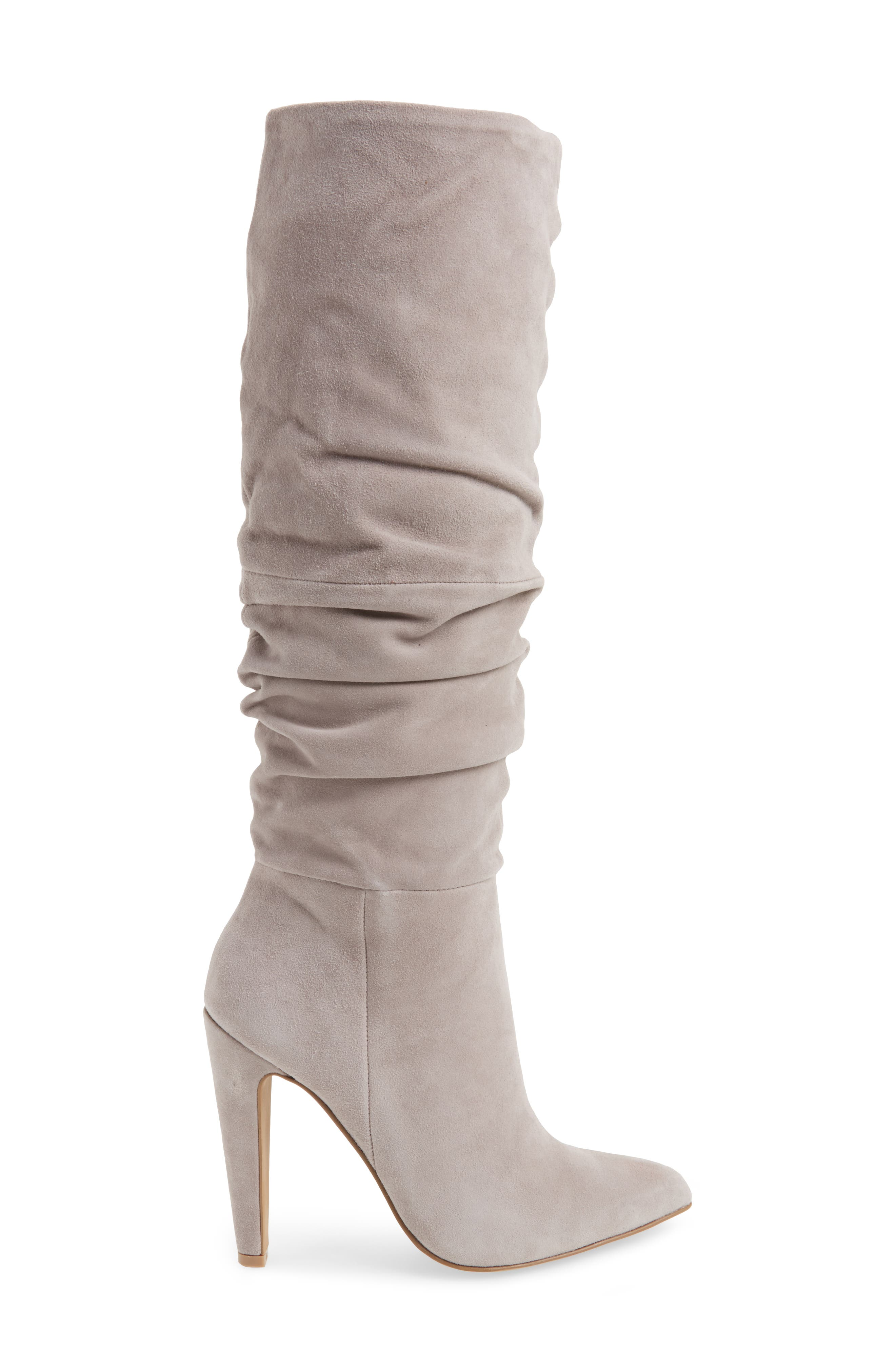 Carrie Slouchy Boot,                             Alternate thumbnail 3, color,                             Grey Suede