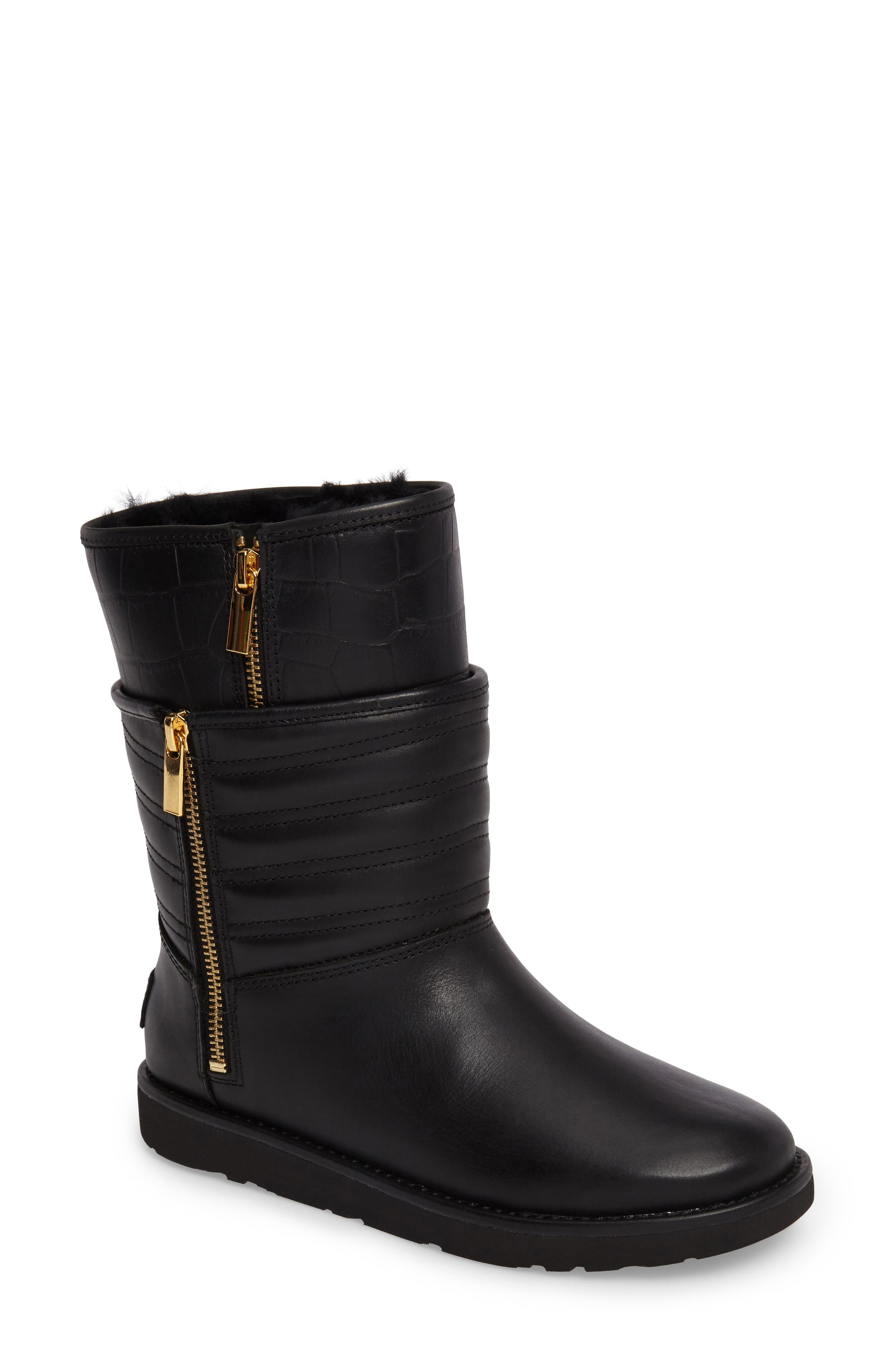 Aviva Genuine Shearling Lined Boot,                         Main,                         color, Black Leather