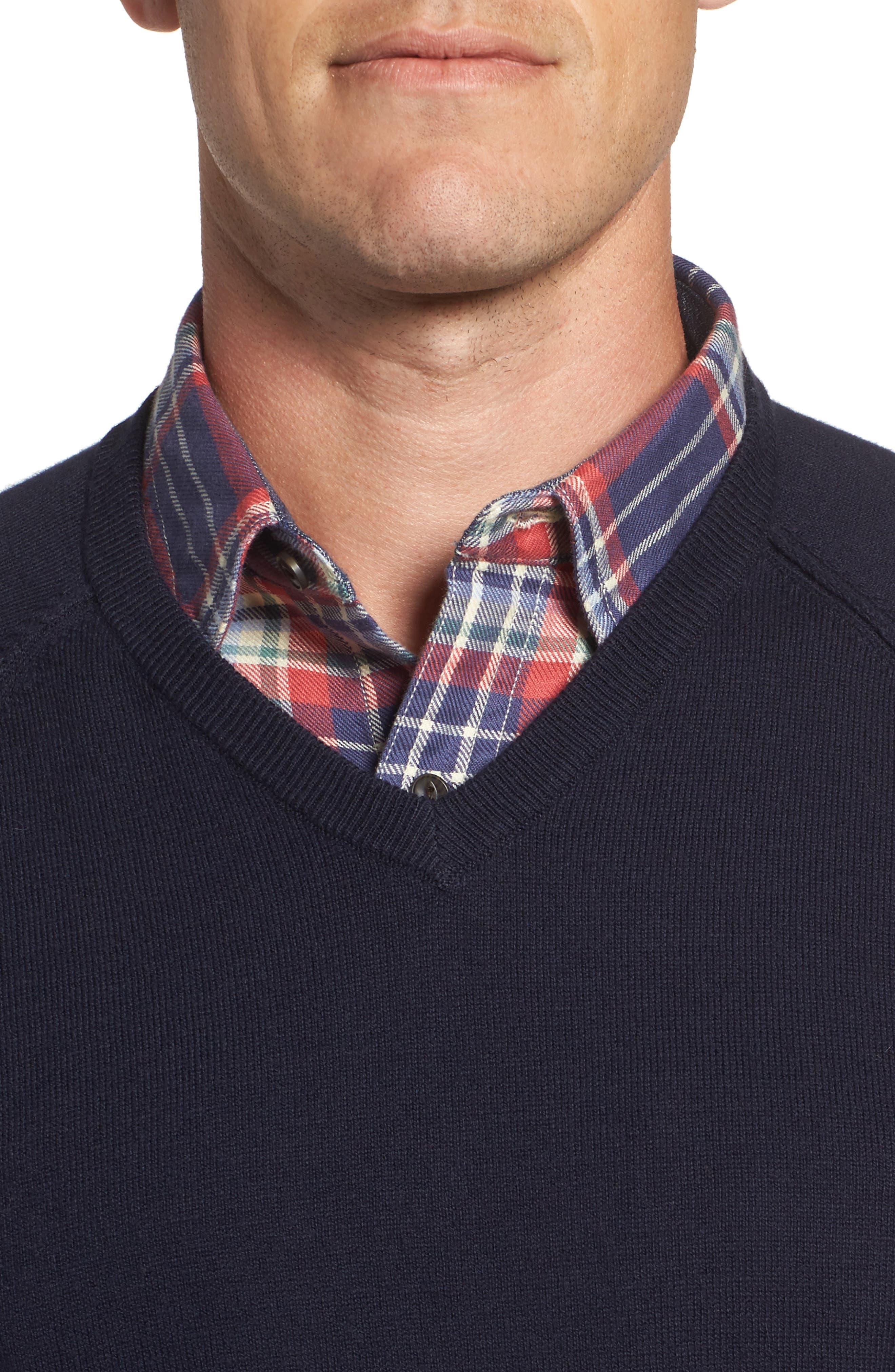 Saddle Shoulder Cotton & Cashmere V-Neck Sweater,                             Alternate thumbnail 4, color,                             Navy Night