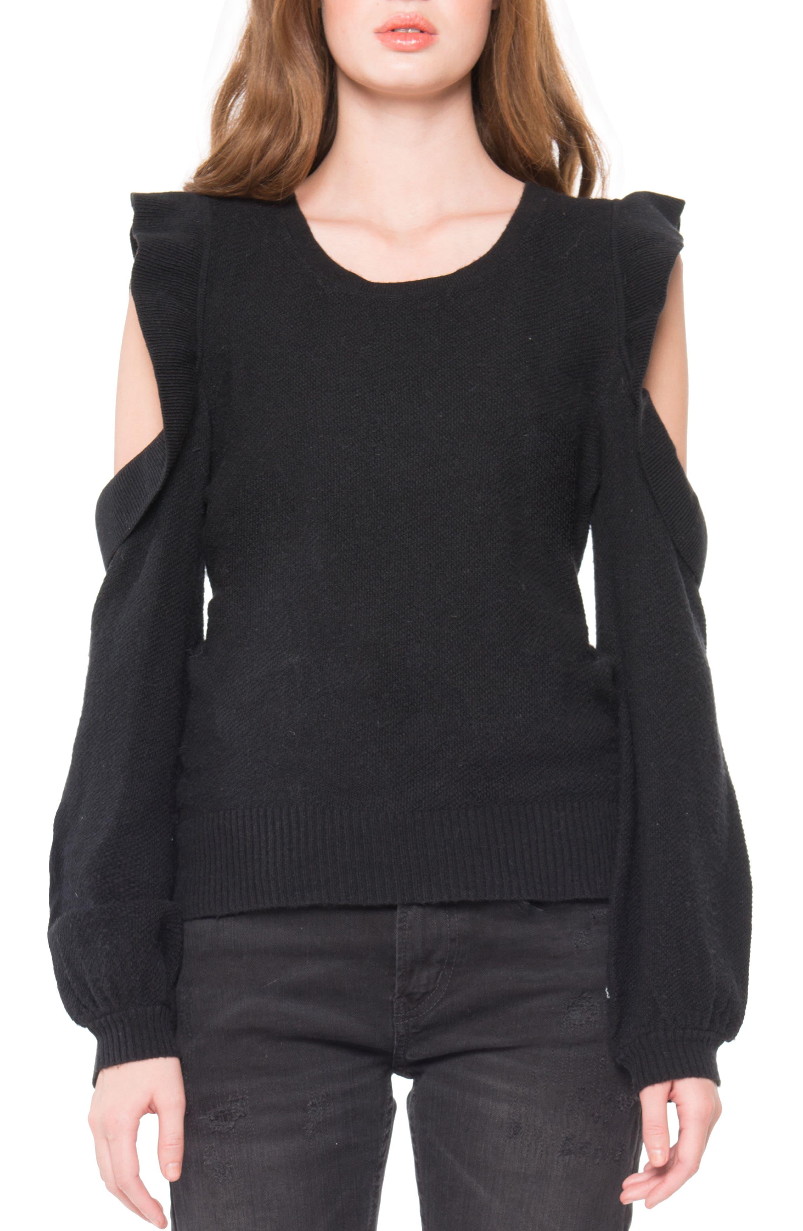 Cold Shoulder Ruffle Sweater,                             Main thumbnail 1, color,                             Black