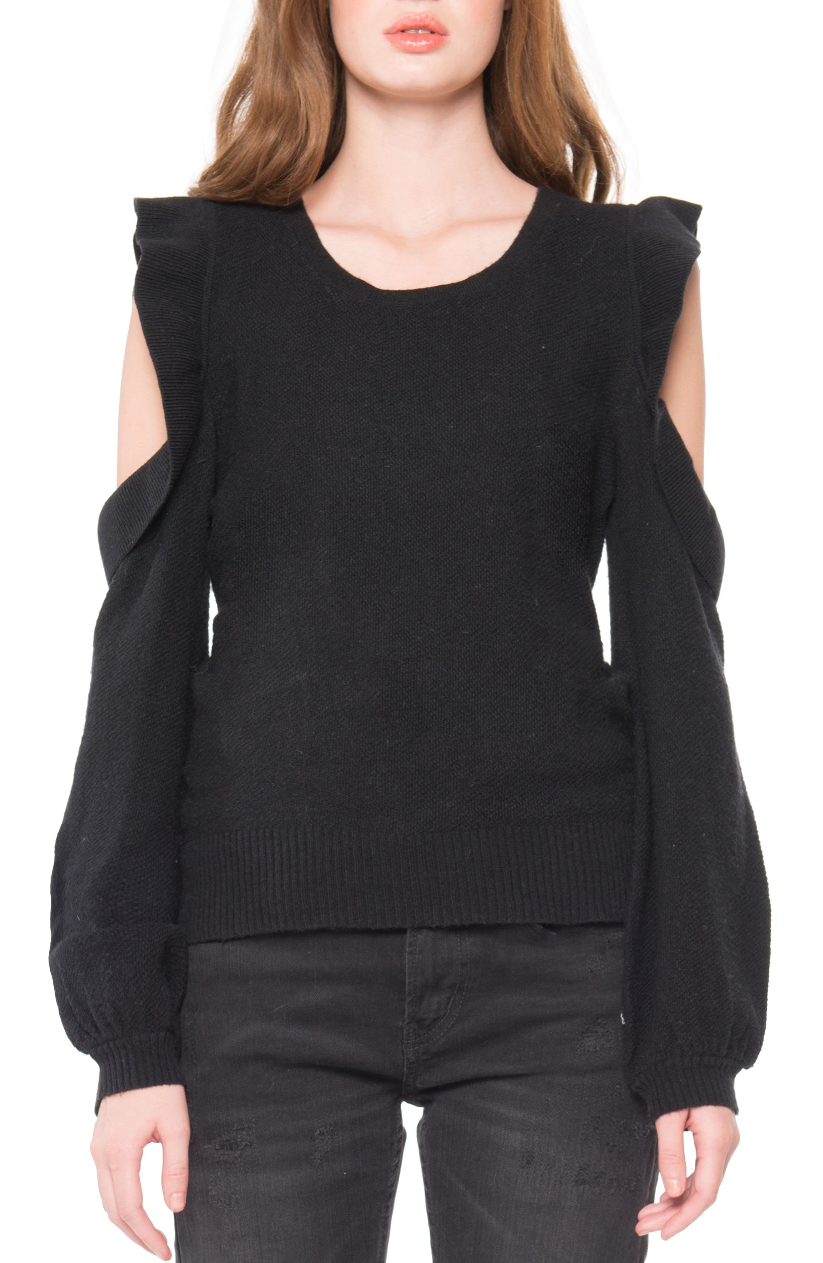 Cold Shoulder Ruffle Sweater,                         Main,                         color, Black