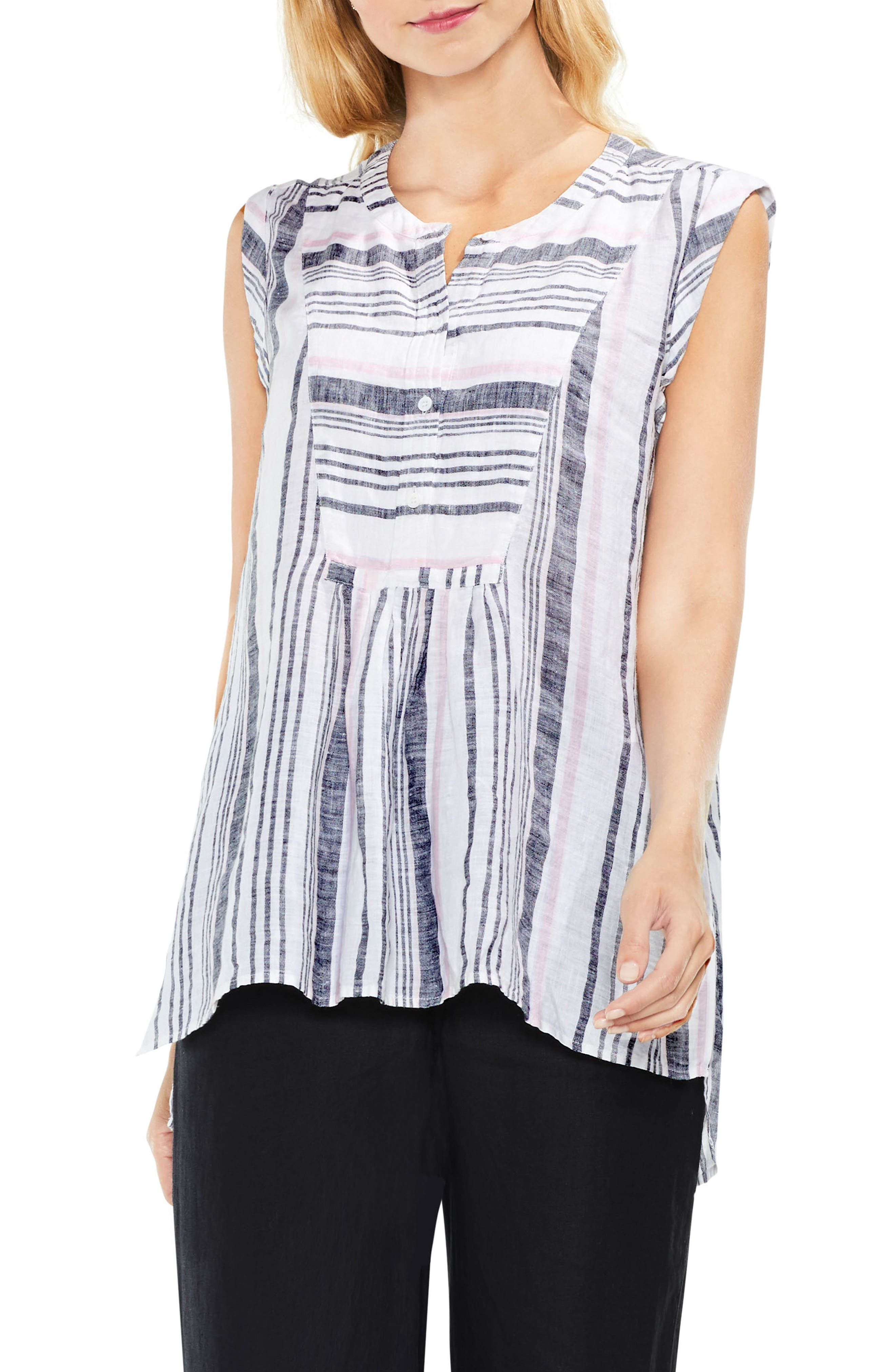 Two by Vince Camuto Sleeveless Variegated Step Stripe Top
