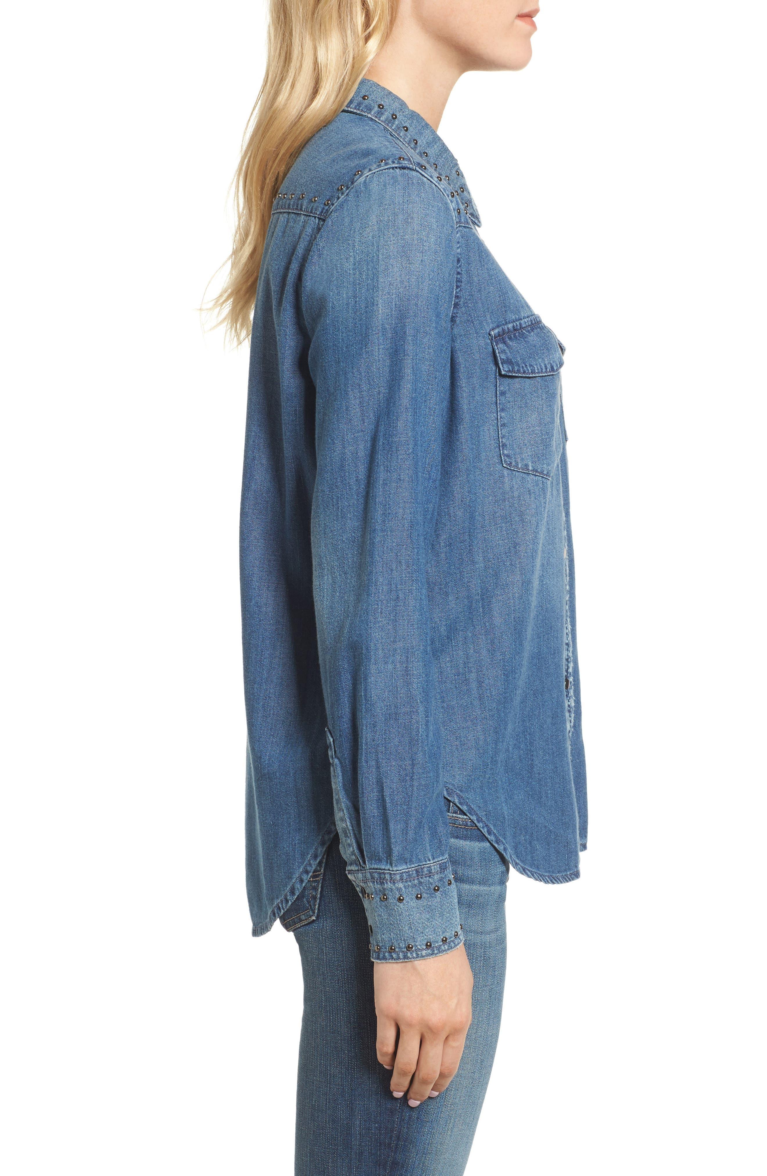 Deanna Studded Denim Shirt,                             Alternate thumbnail 3, color,                             Fountain