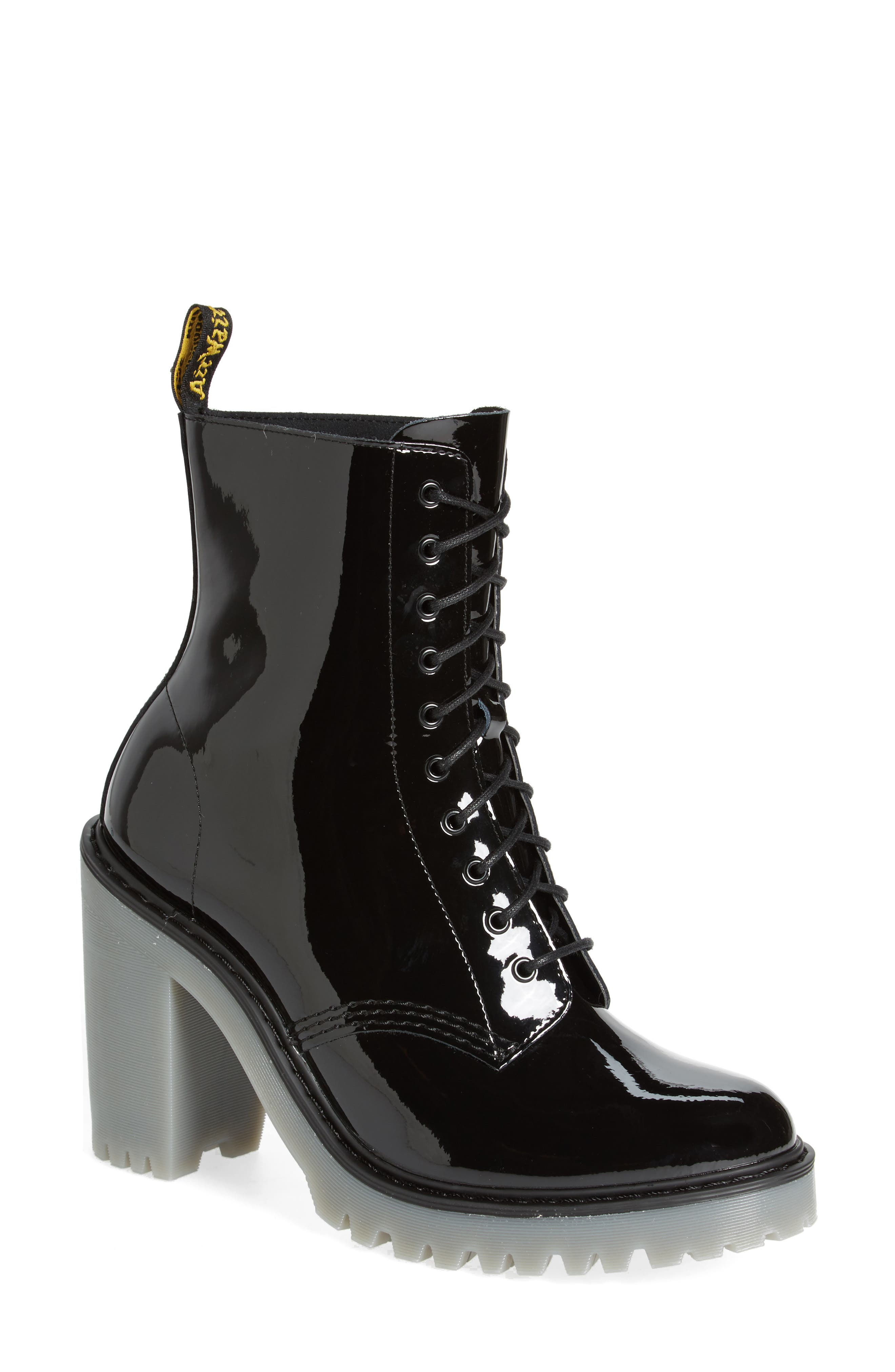 Kendra Heeled Bootie,                             Main thumbnail 1, color,                             Black Patent Leather