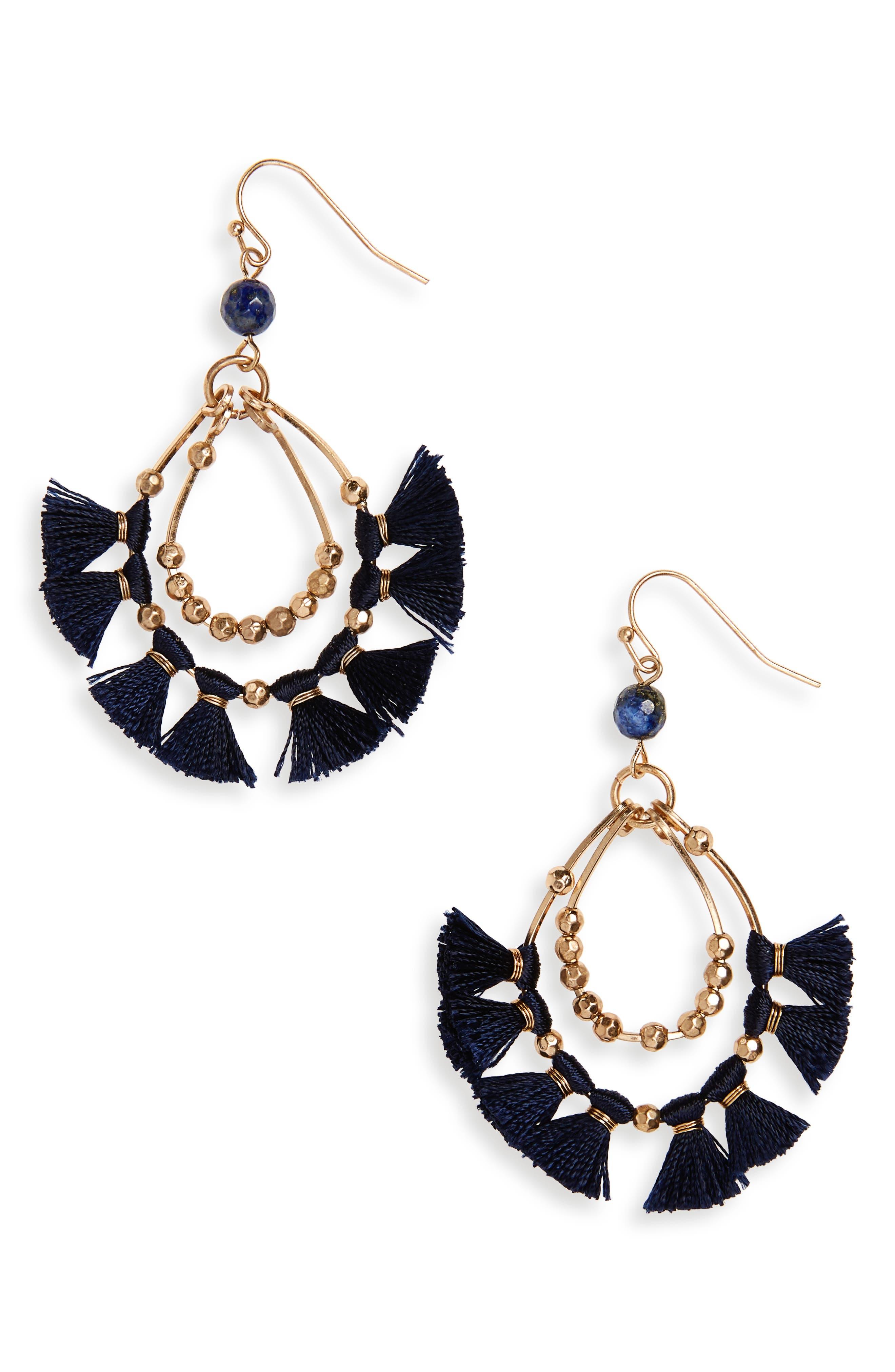 Tassel Hoop Earrings,                         Main,                         color, Navy