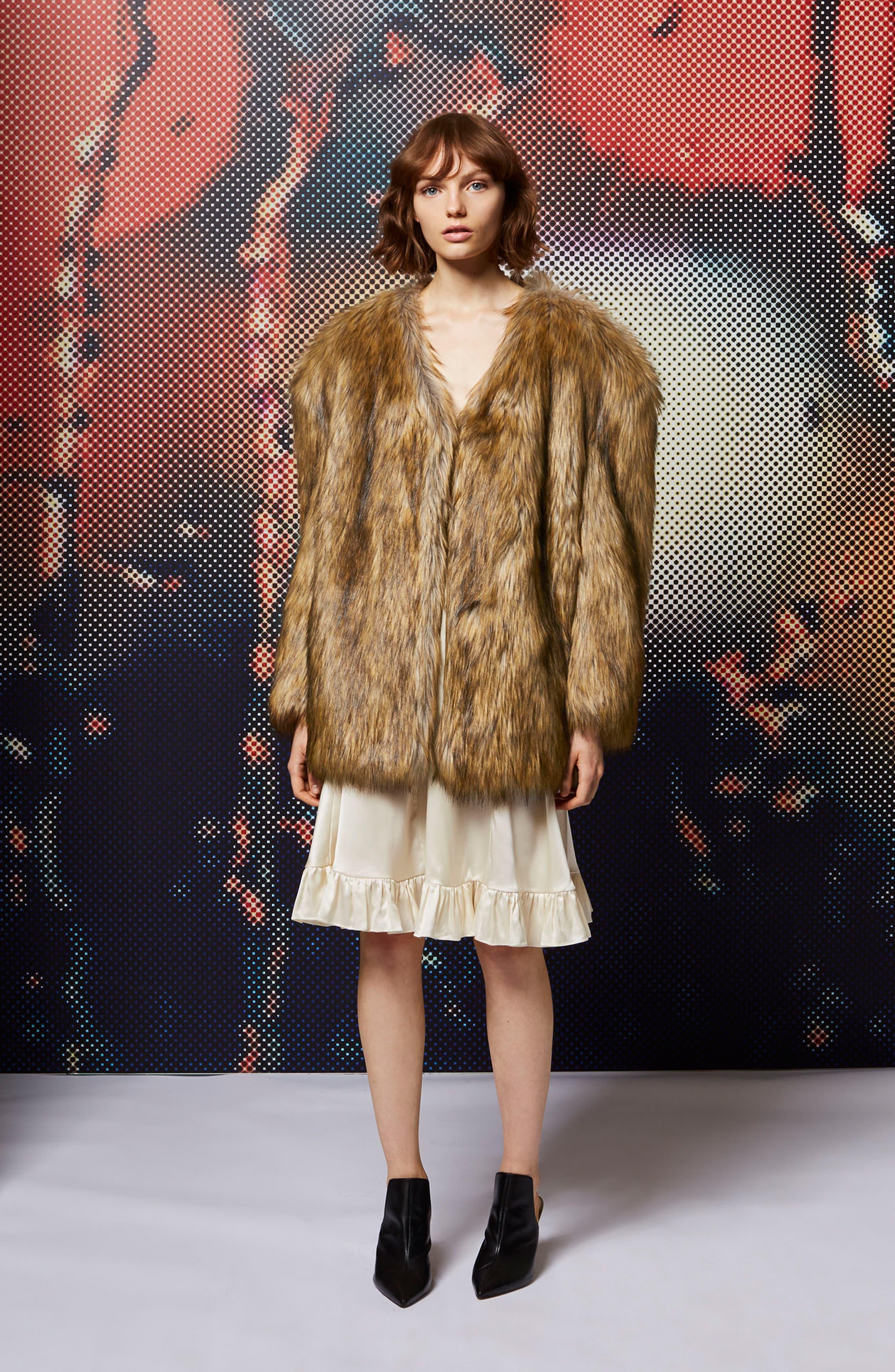 Alternate Image 2  - Topshop Chubby Faux Fur Coat