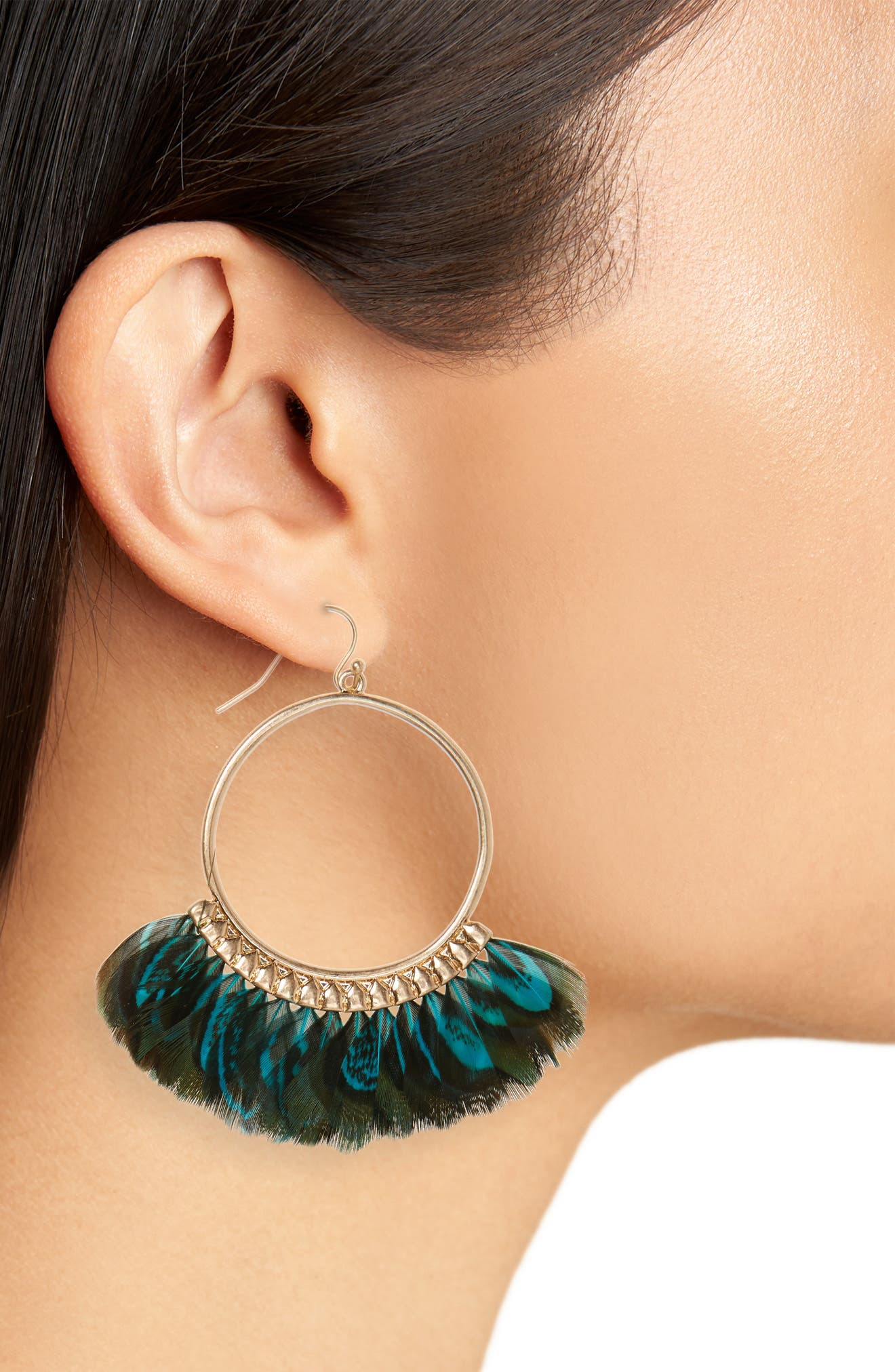 Feather Hoop Earrings,                             Alternate thumbnail 2, color,                             Black/ Teal