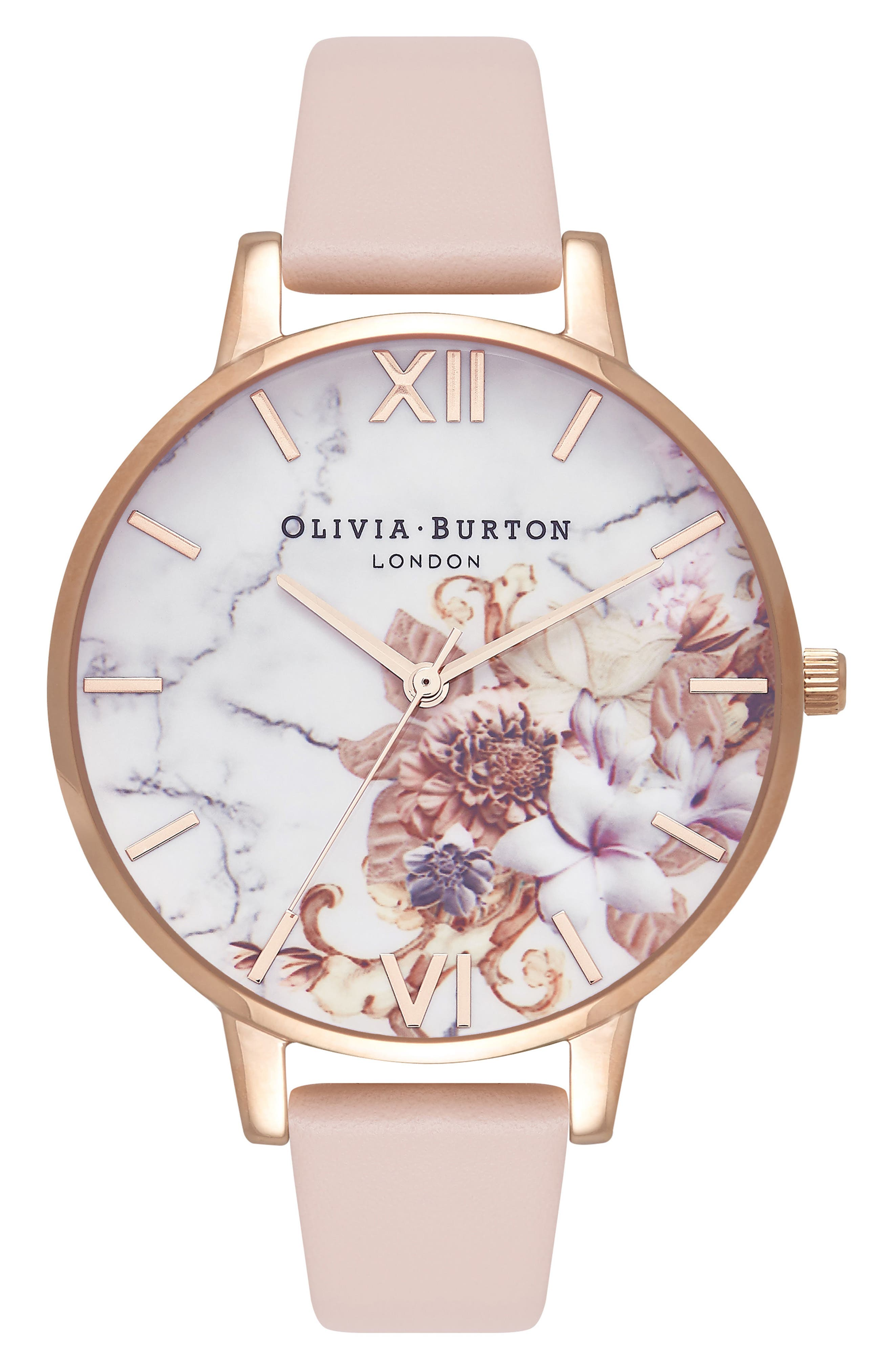 Marble Floral Leather Strap Watch, 38mm,                         Main,                         color, Nude Peach/ Floral/ Rose Gold