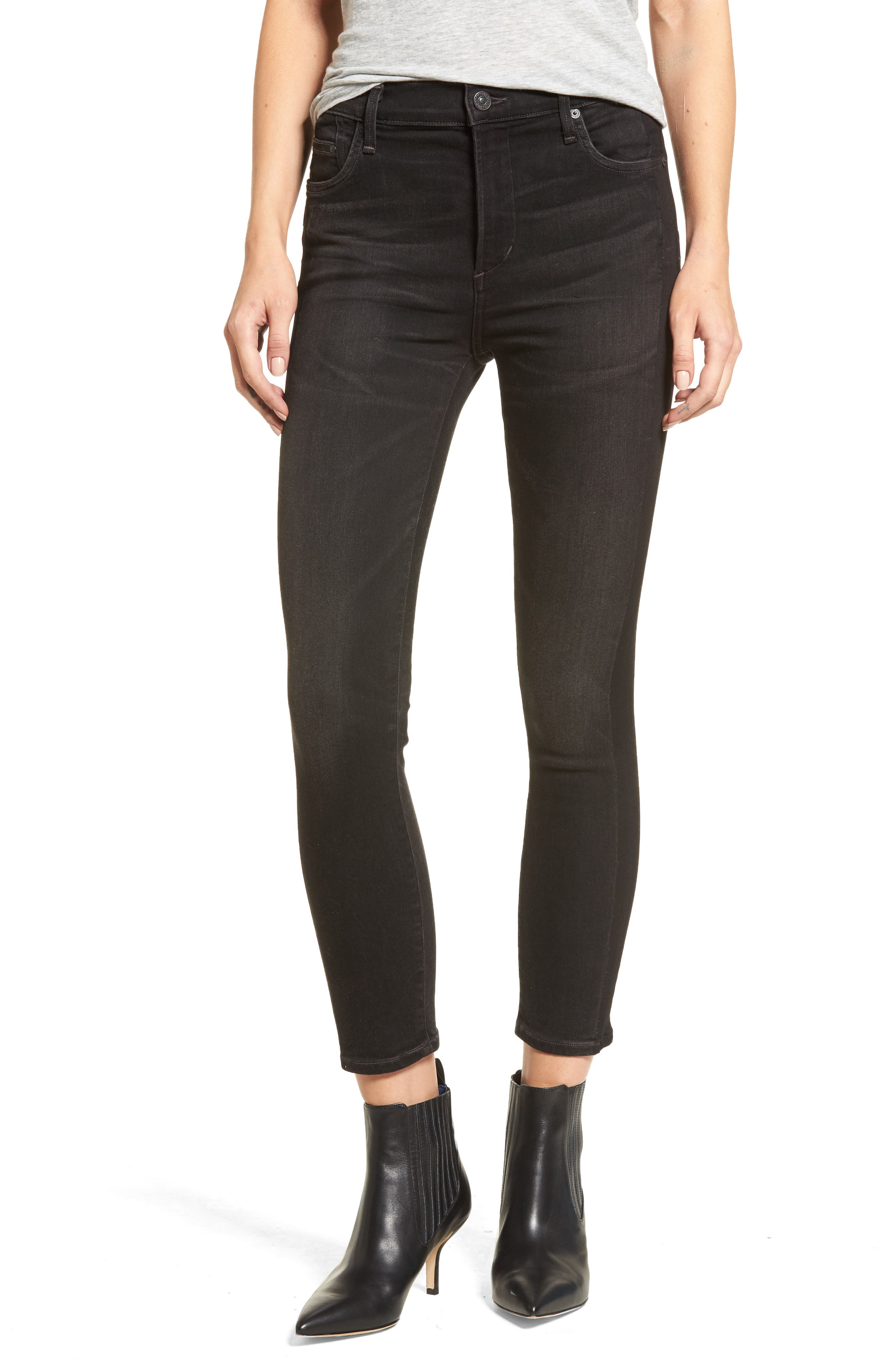Rocket High Waist Crop Skinny Jeans,                         Main,                         color, Shadow Stripe Darkness