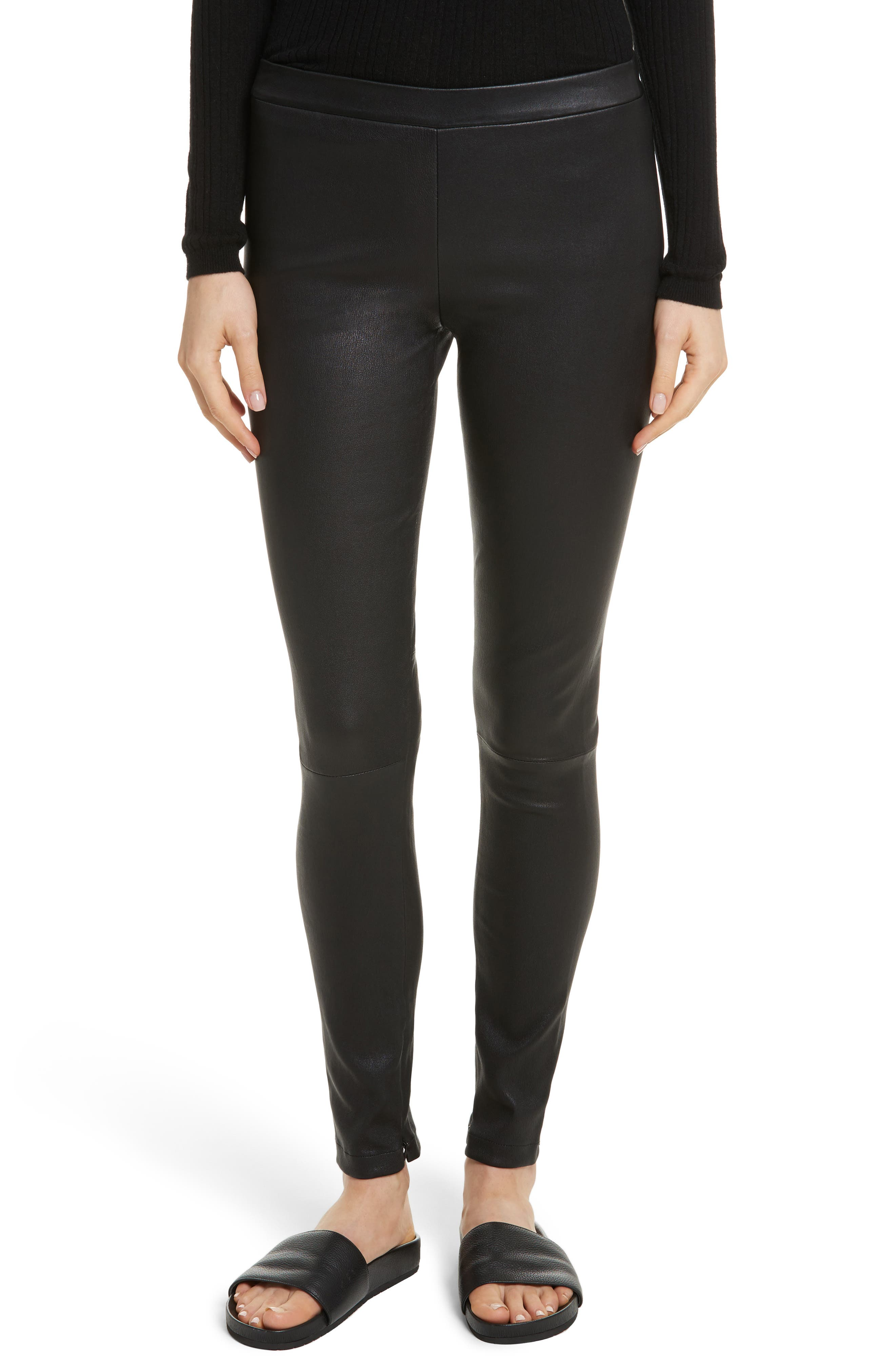 Zip Ankle Leather Leggings,                         Main,                         color, Black