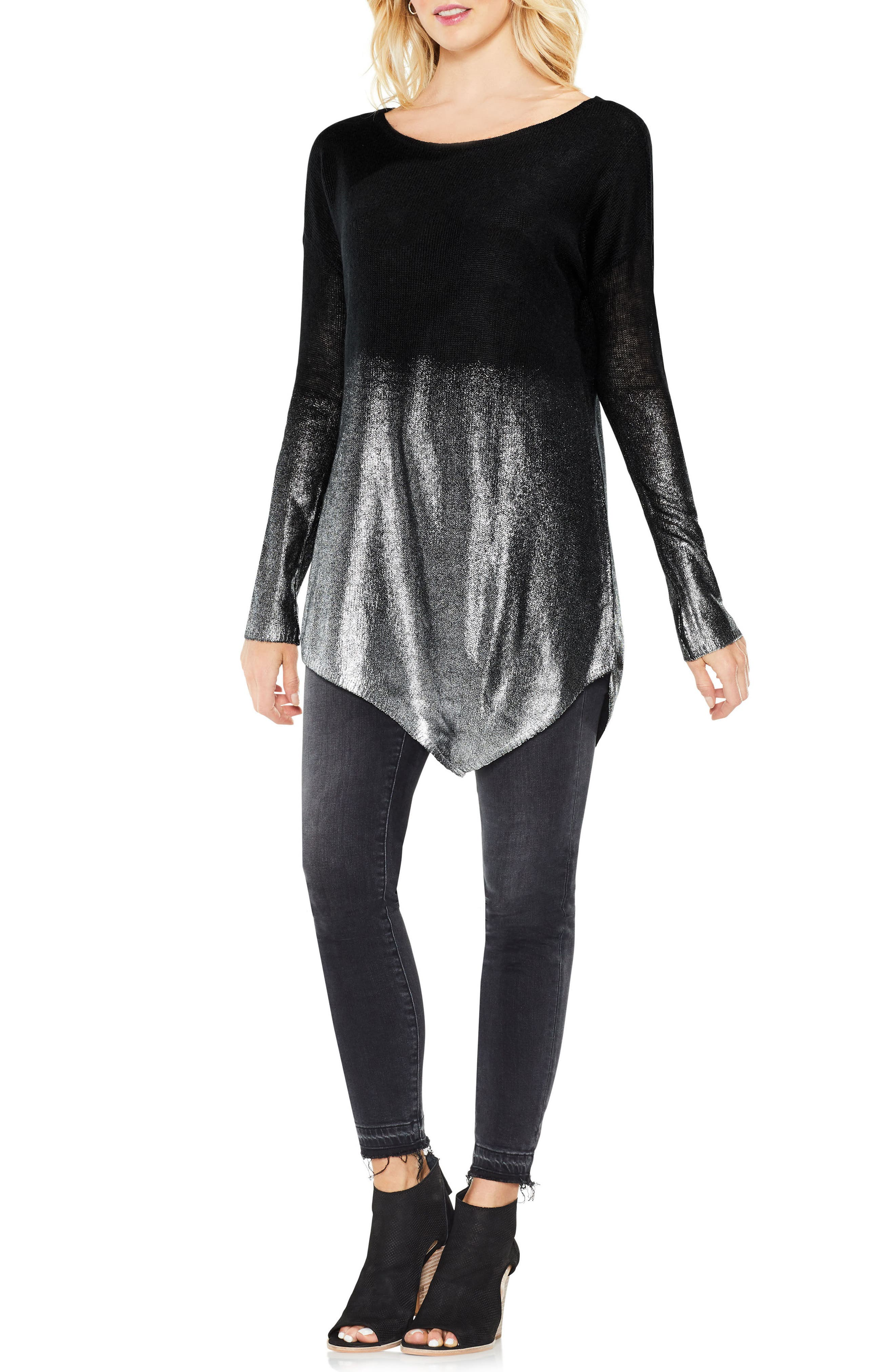 Alternate Image 2  - Two by Vince Camuto Asymmetrical Metallic Ombré Sweater