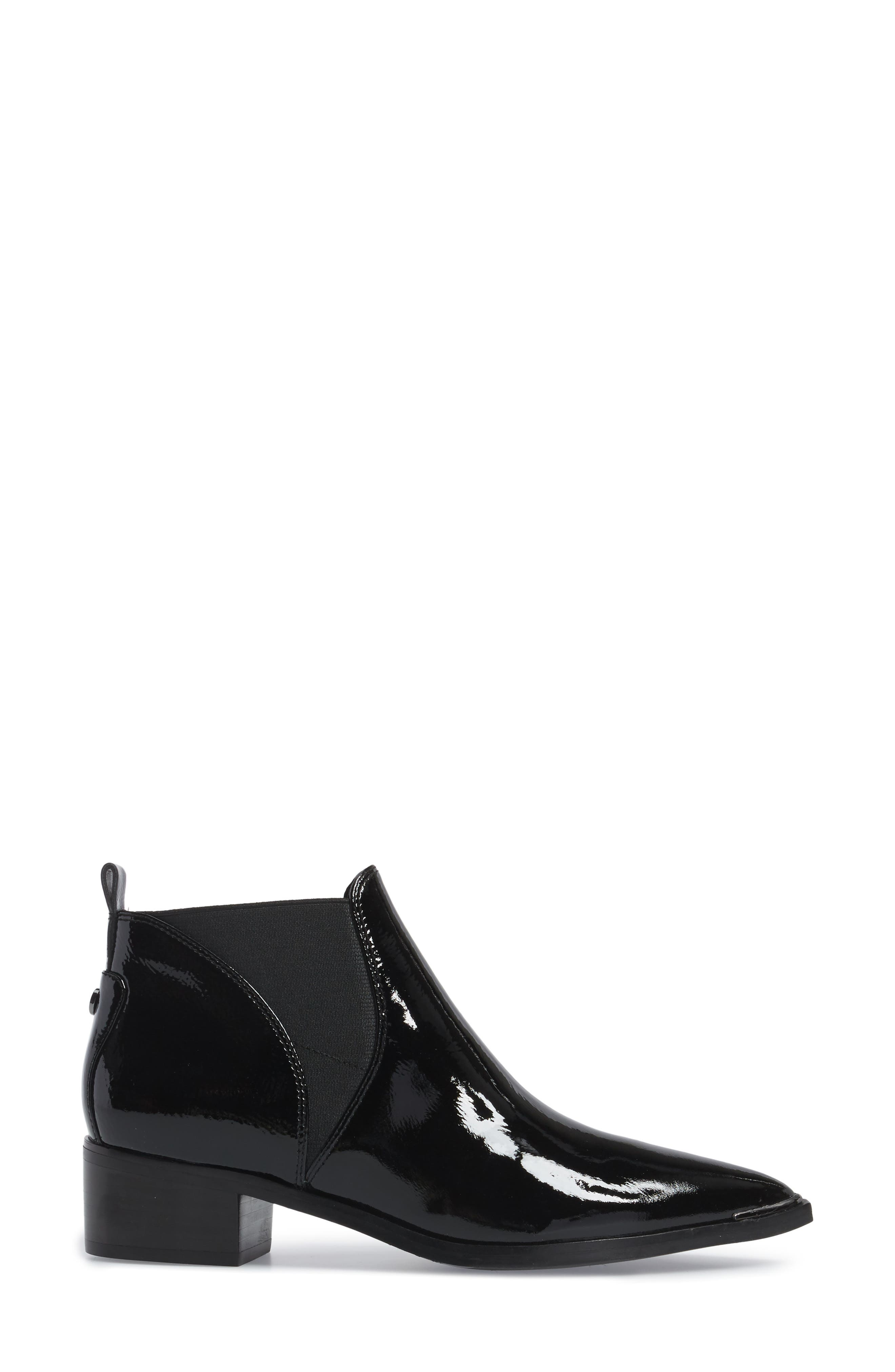 Yellin Pointy Toe Chelsea Boot,                             Alternate thumbnail 3, color,                             Black Patent Leather