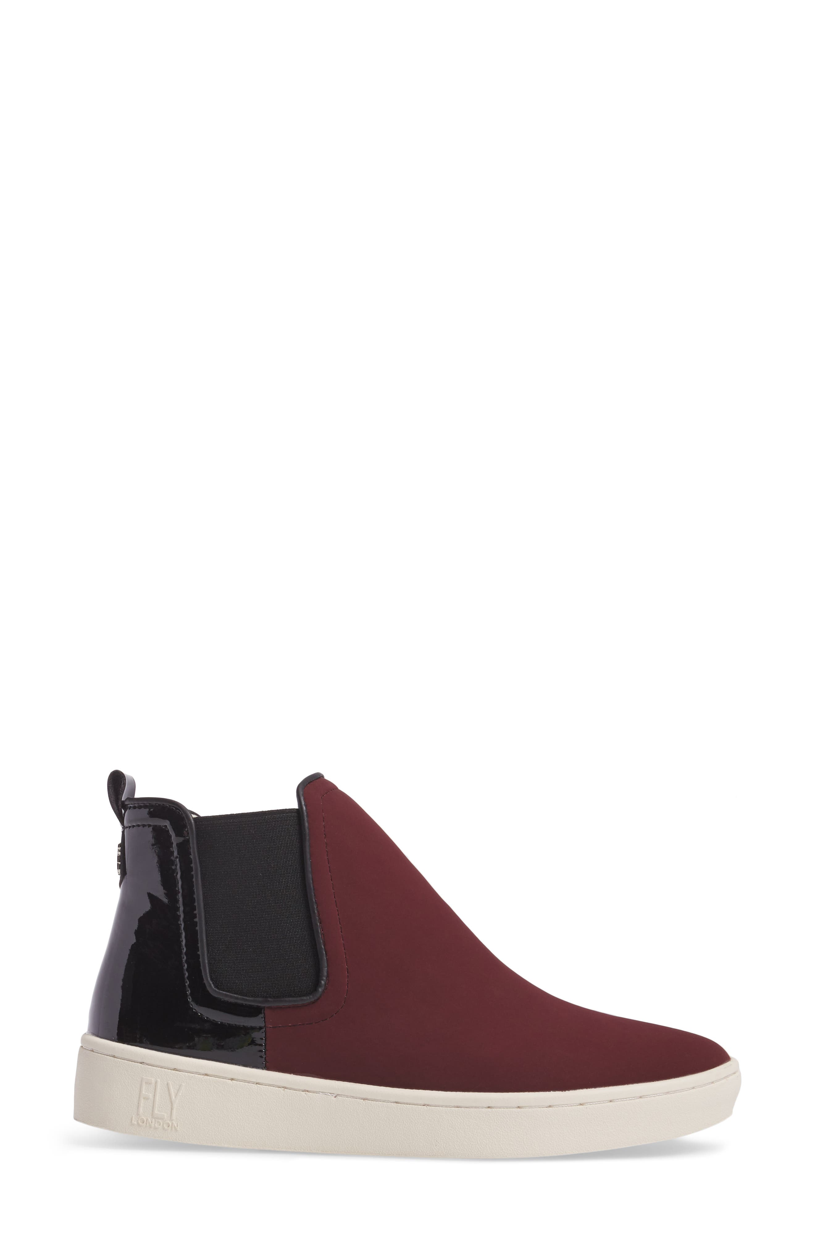 'Mabs' Slip-On Platform Sneaker,                             Alternate thumbnail 3, color,                             Bordeaux/ Black Leather