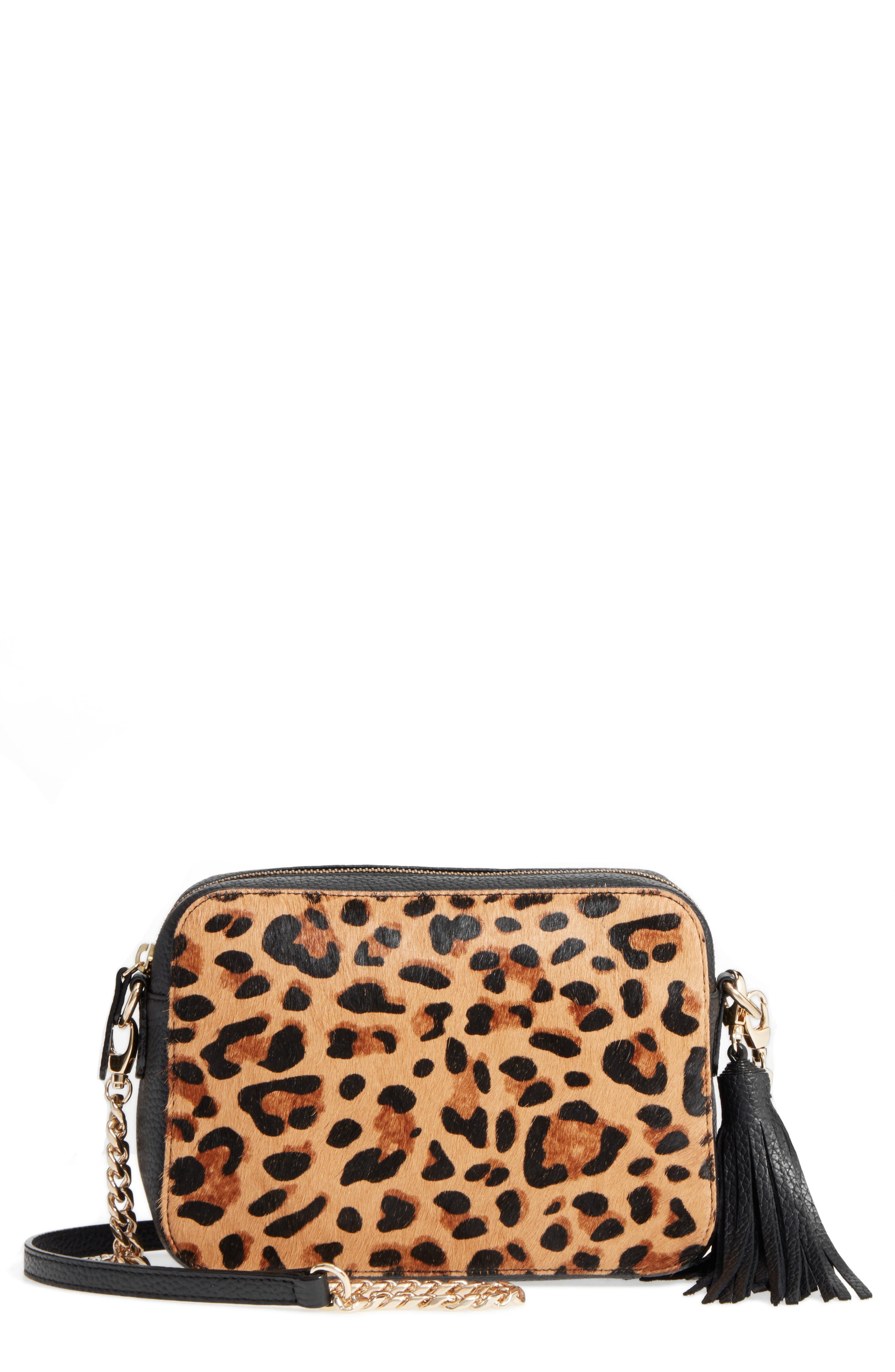 Nordstrom Ella Leather & Genuine Calf Hair Crossbody Bag