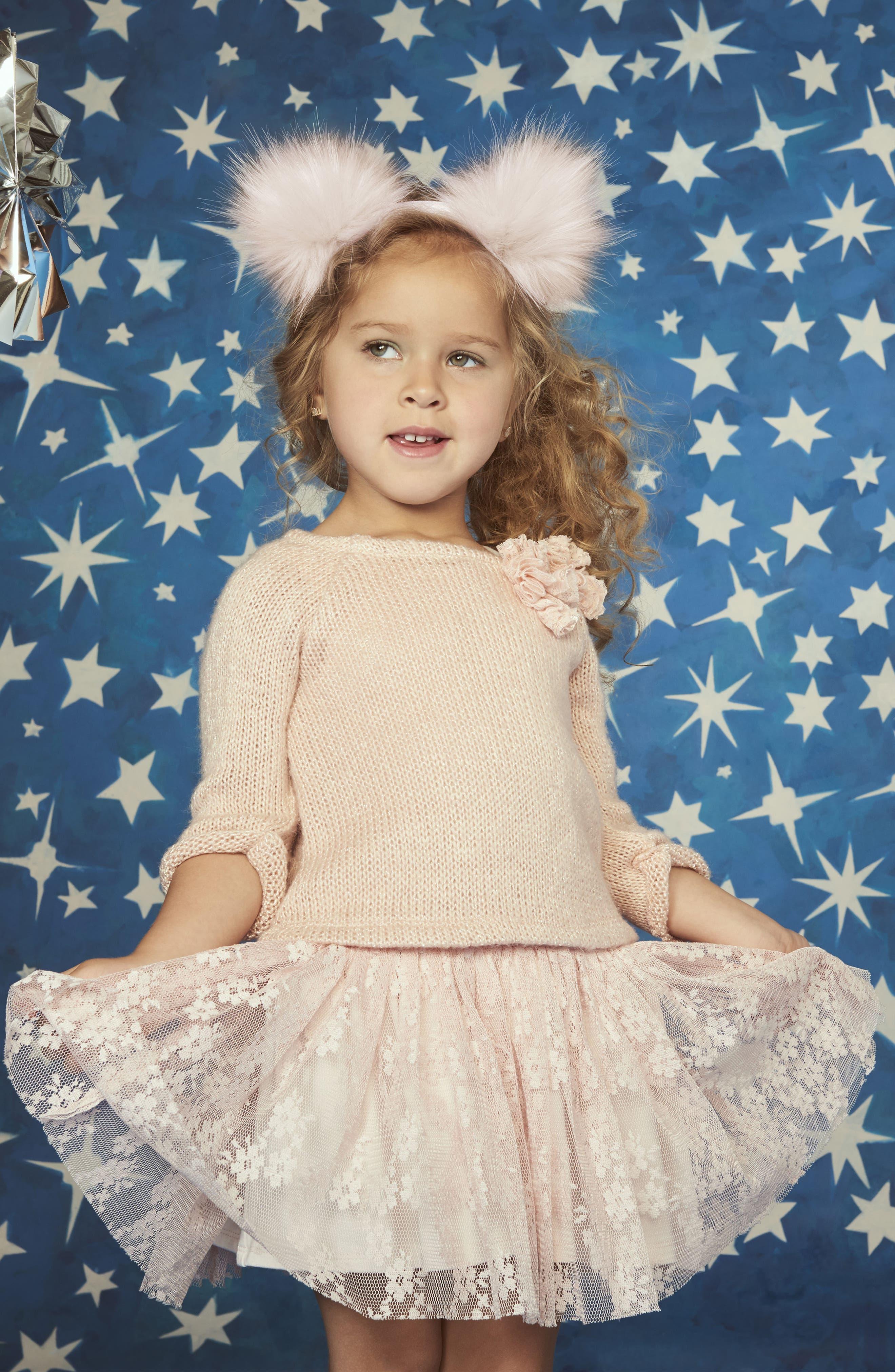 Alternate Image 5  - Pippa & Julie Sweater & Lace Skirt Dress (Toddler Girls, Little Girls & Big Girls)