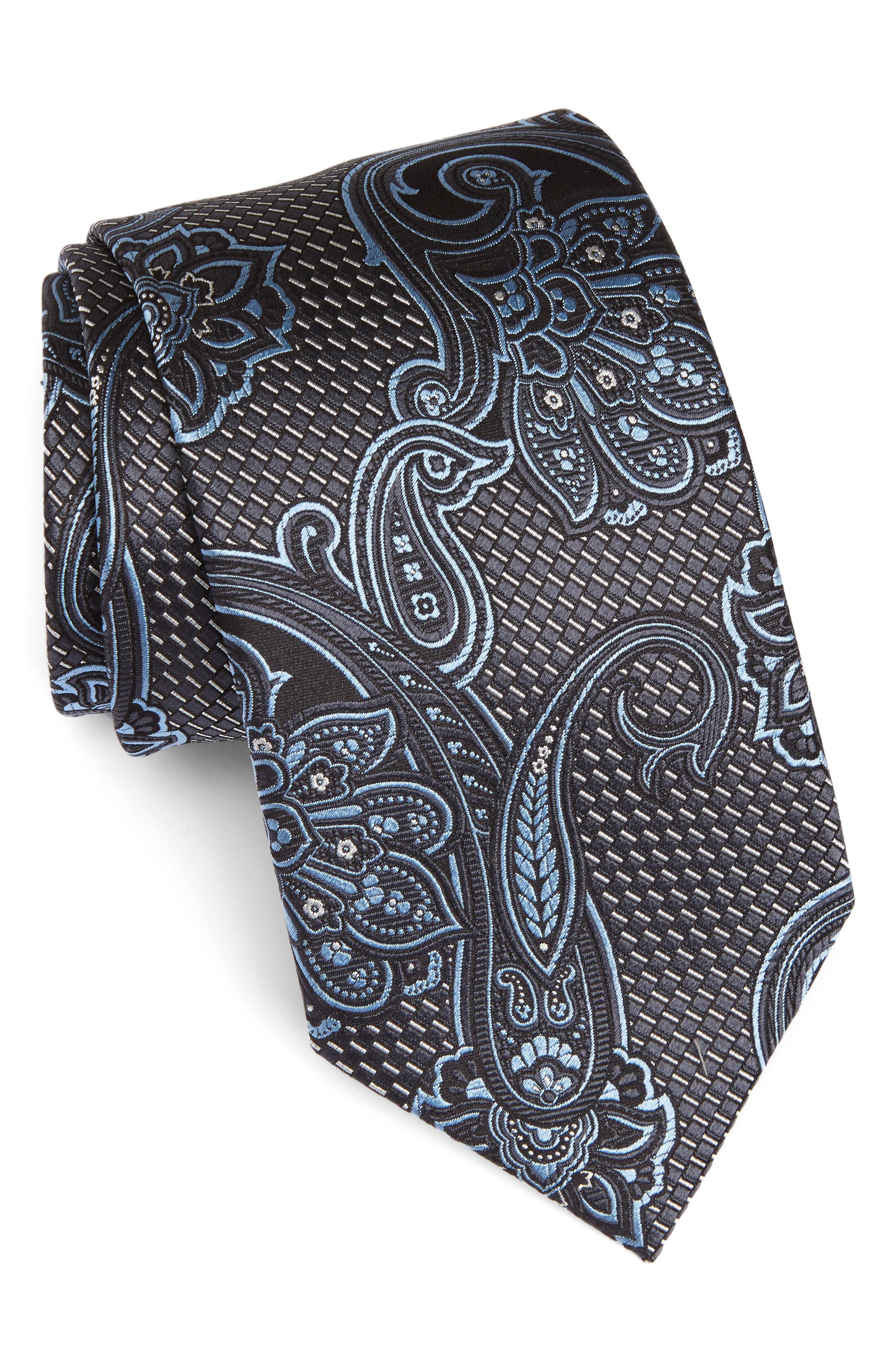 Paisley Silk Tie,                         Main,                         color, Charcoal