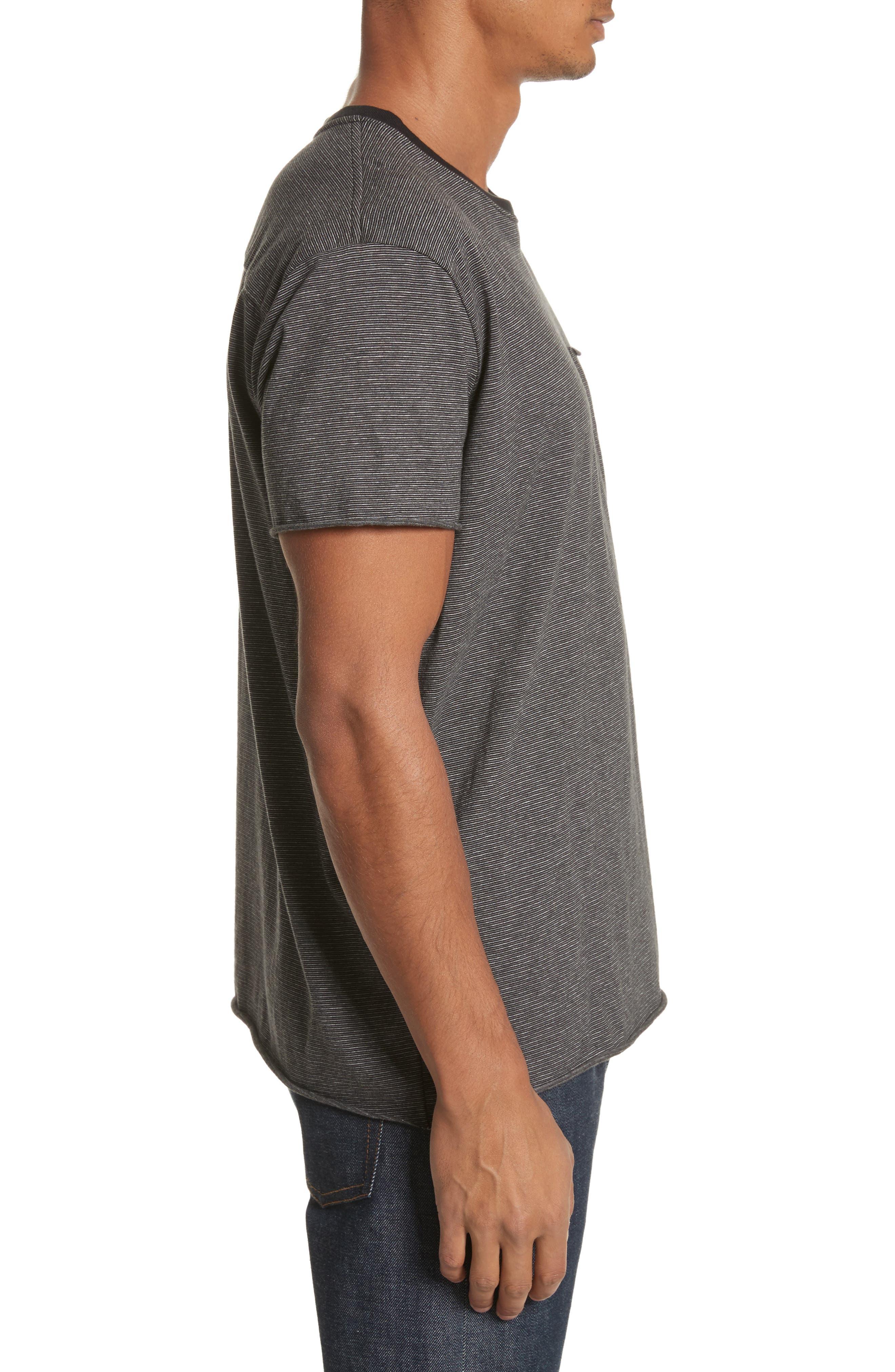 Oversize Stripe Pocket T-Shirt,                             Alternate thumbnail 3, color,                             Black