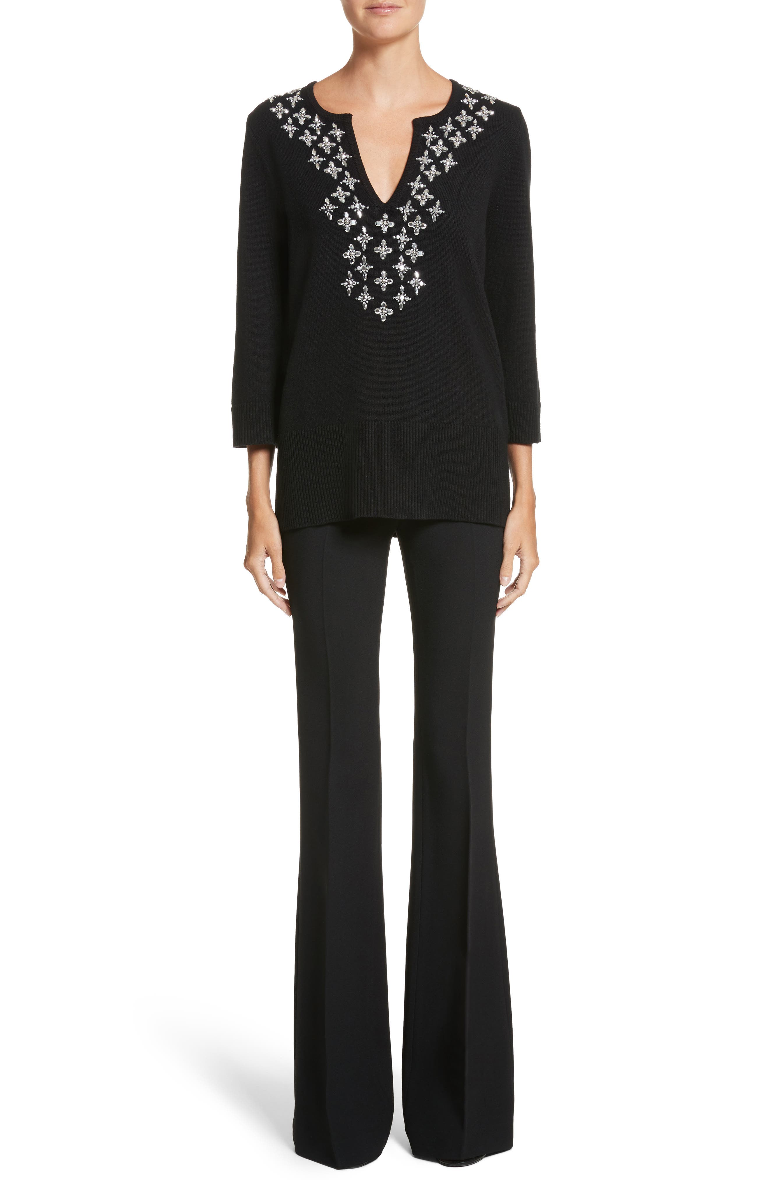 Embellished Cashmere Tunic,                             Alternate thumbnail 8, color,                             Black