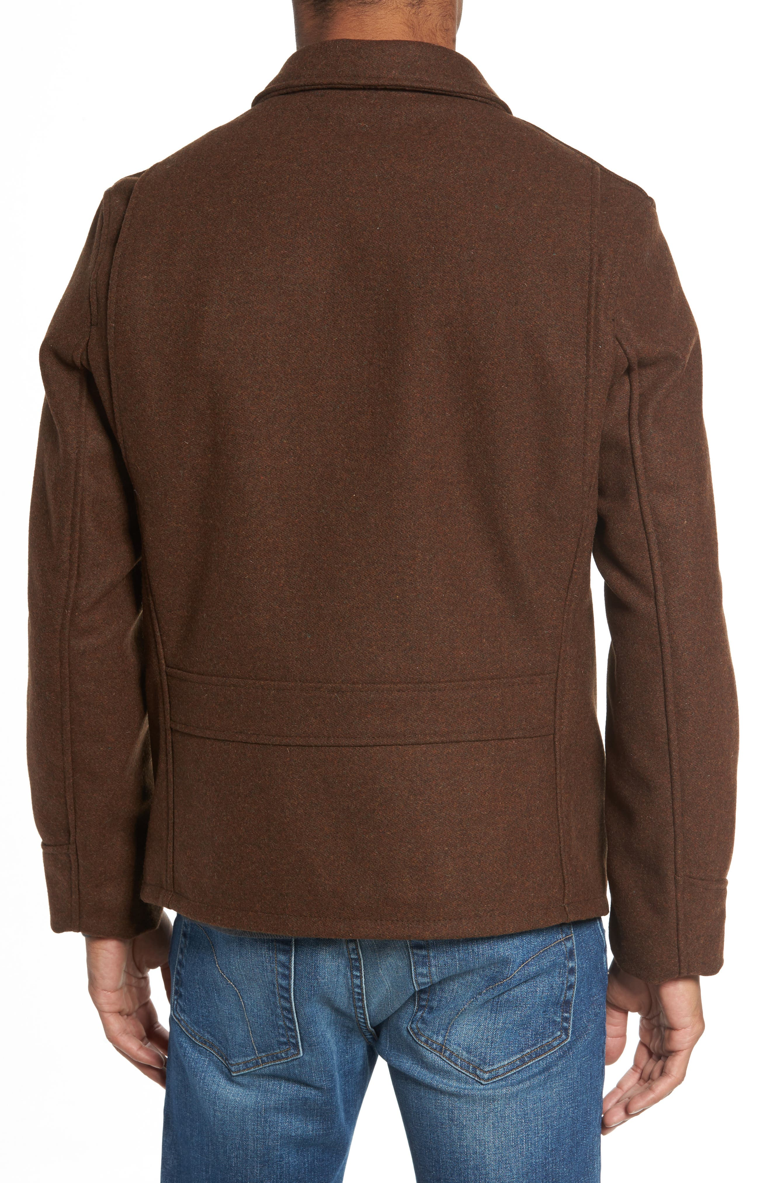 Liberty Wool Blend Zip Front Jacket,                             Alternate thumbnail 2, color,                             Brown