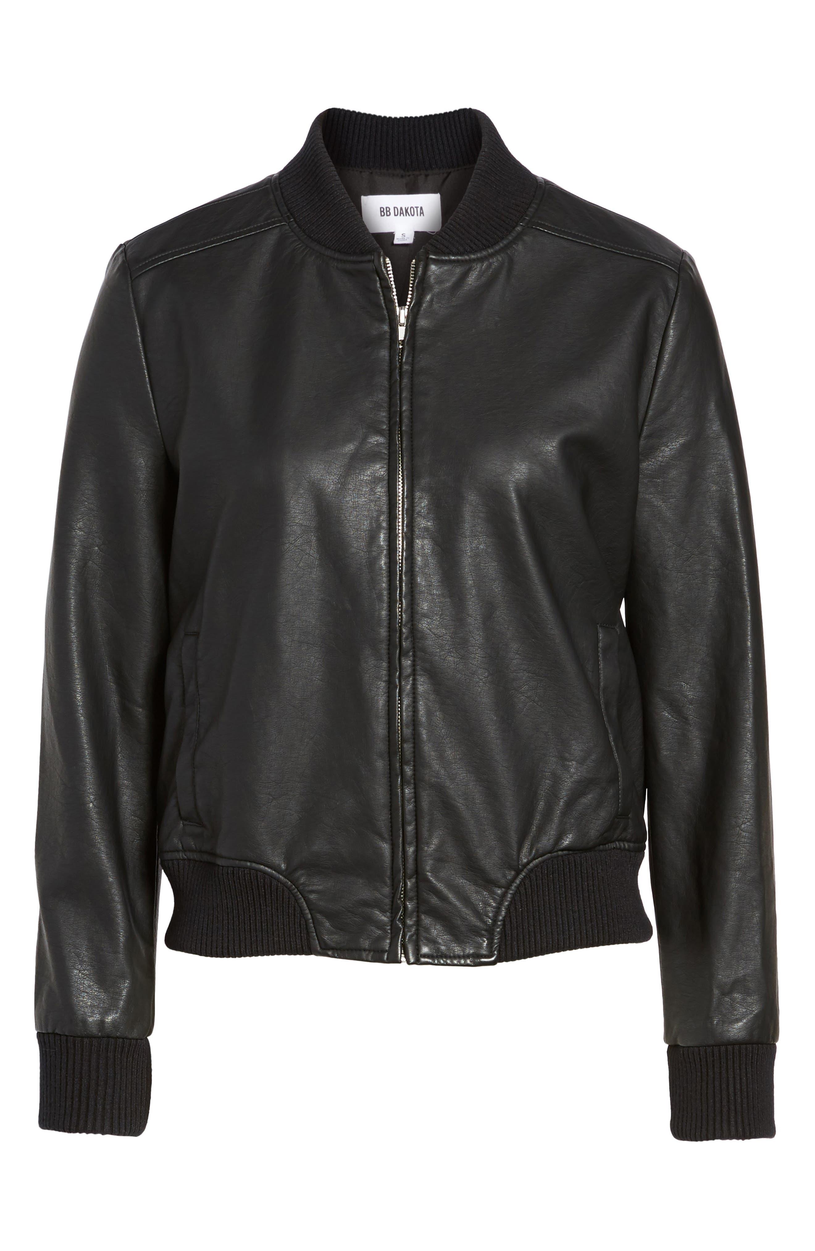 Gavin Faux Leather Bomber Jacket,                             Alternate thumbnail 5, color,                             Black