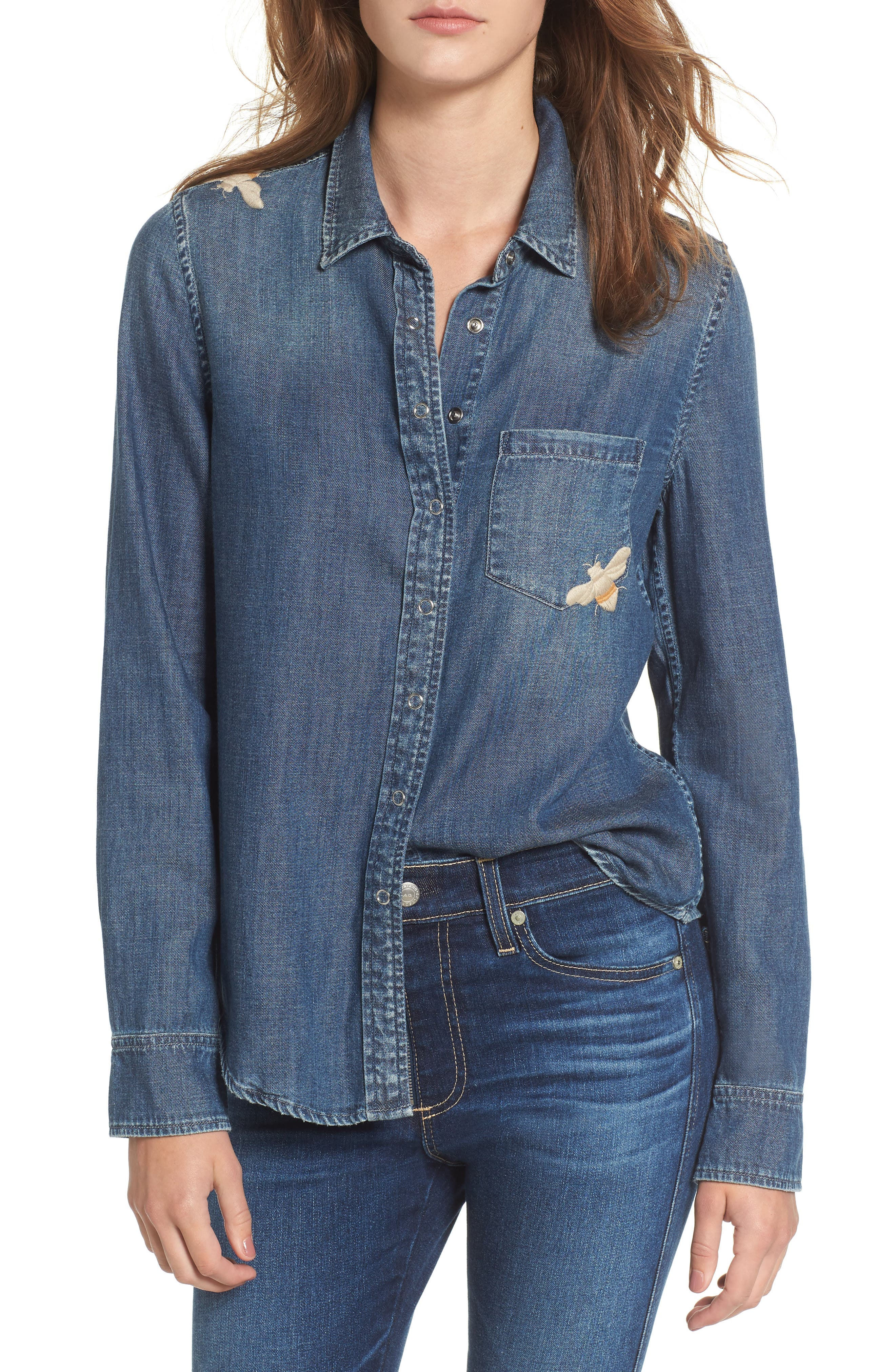 Joanna Embroidered Denim Shirt,                             Main thumbnail 1, color,                             West Coast Embroidered