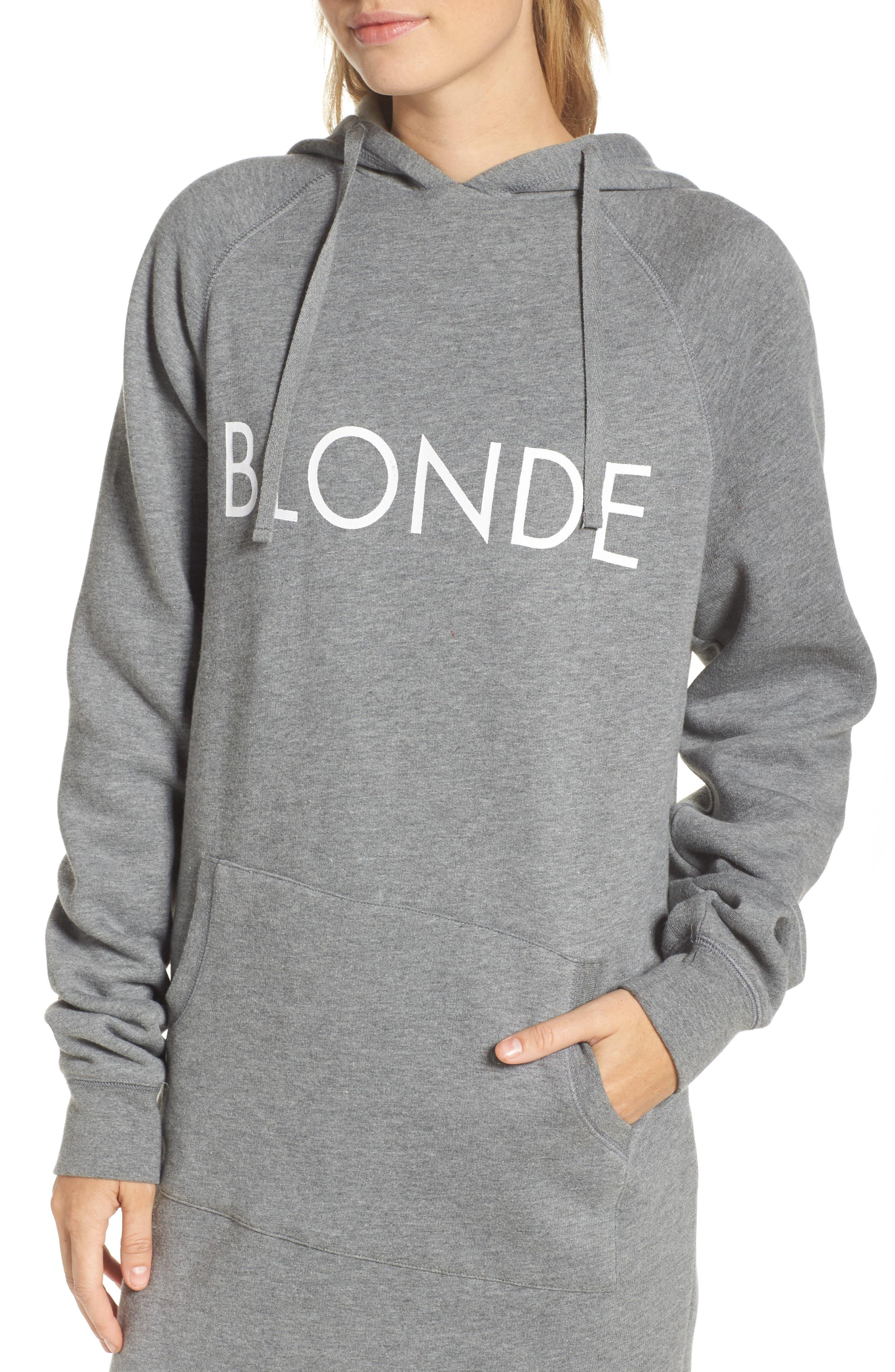 Blonde Sweatshirt Dress,                             Alternate thumbnail 4, color,                             Heather Grey White