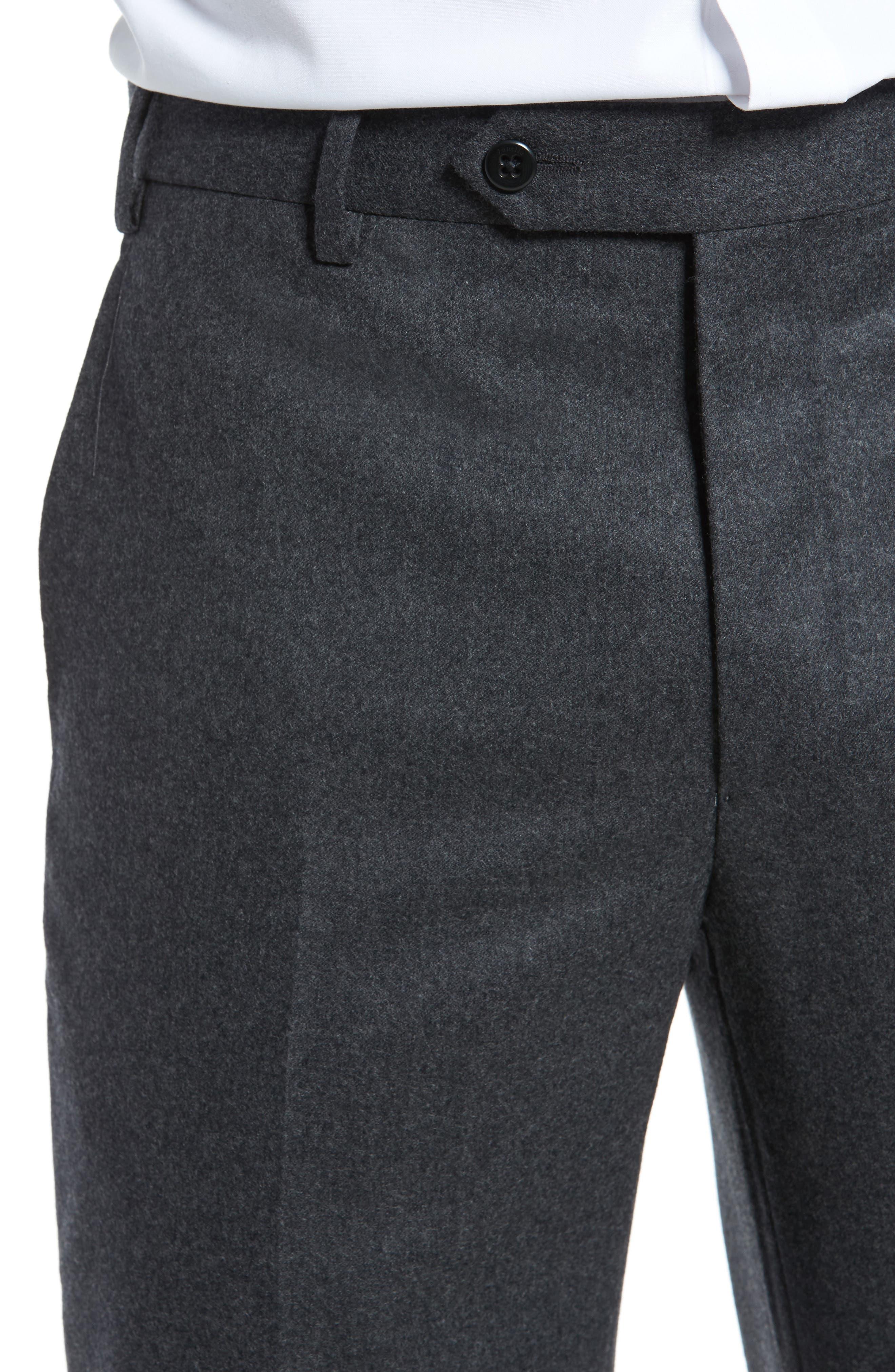 Alternate Image 5  - Zanella Devon Flat Front Solid Wool Flannel Trousers