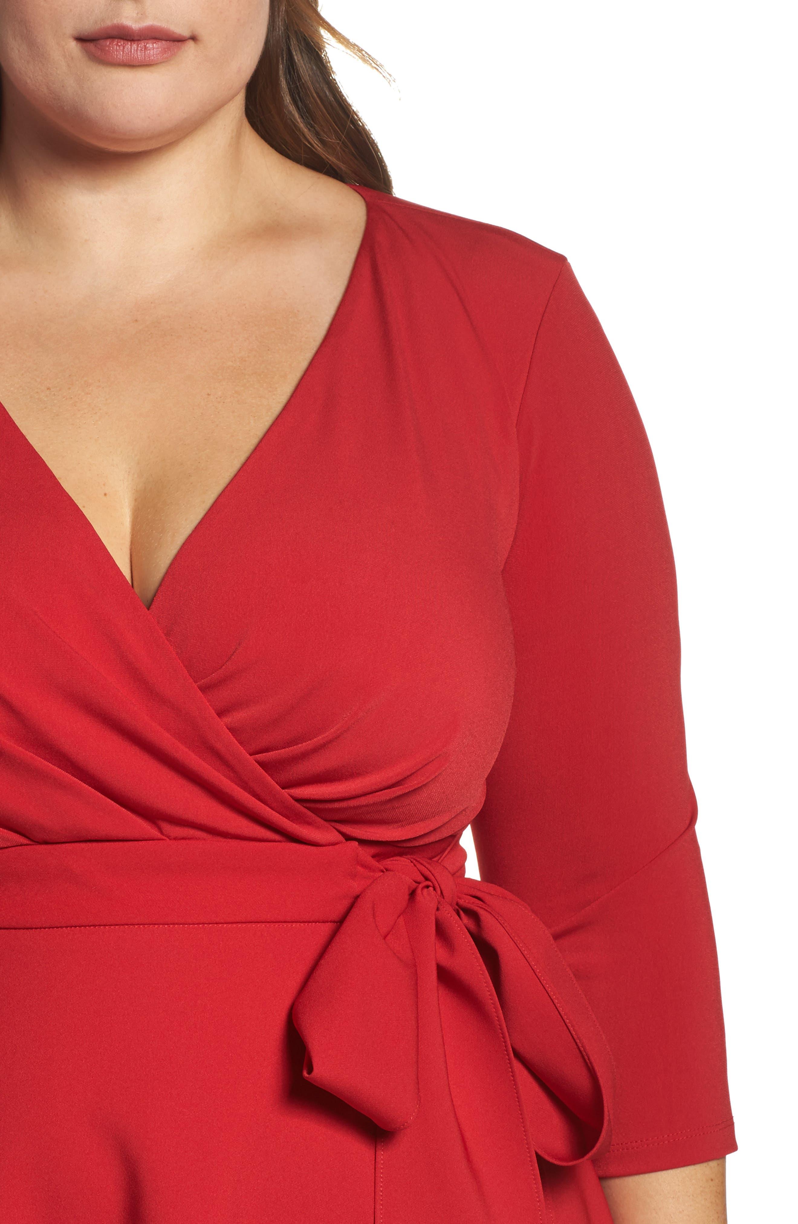 Alternate Image 4  - Sangria Fit & Flare Wrap Dress (Plus Size)