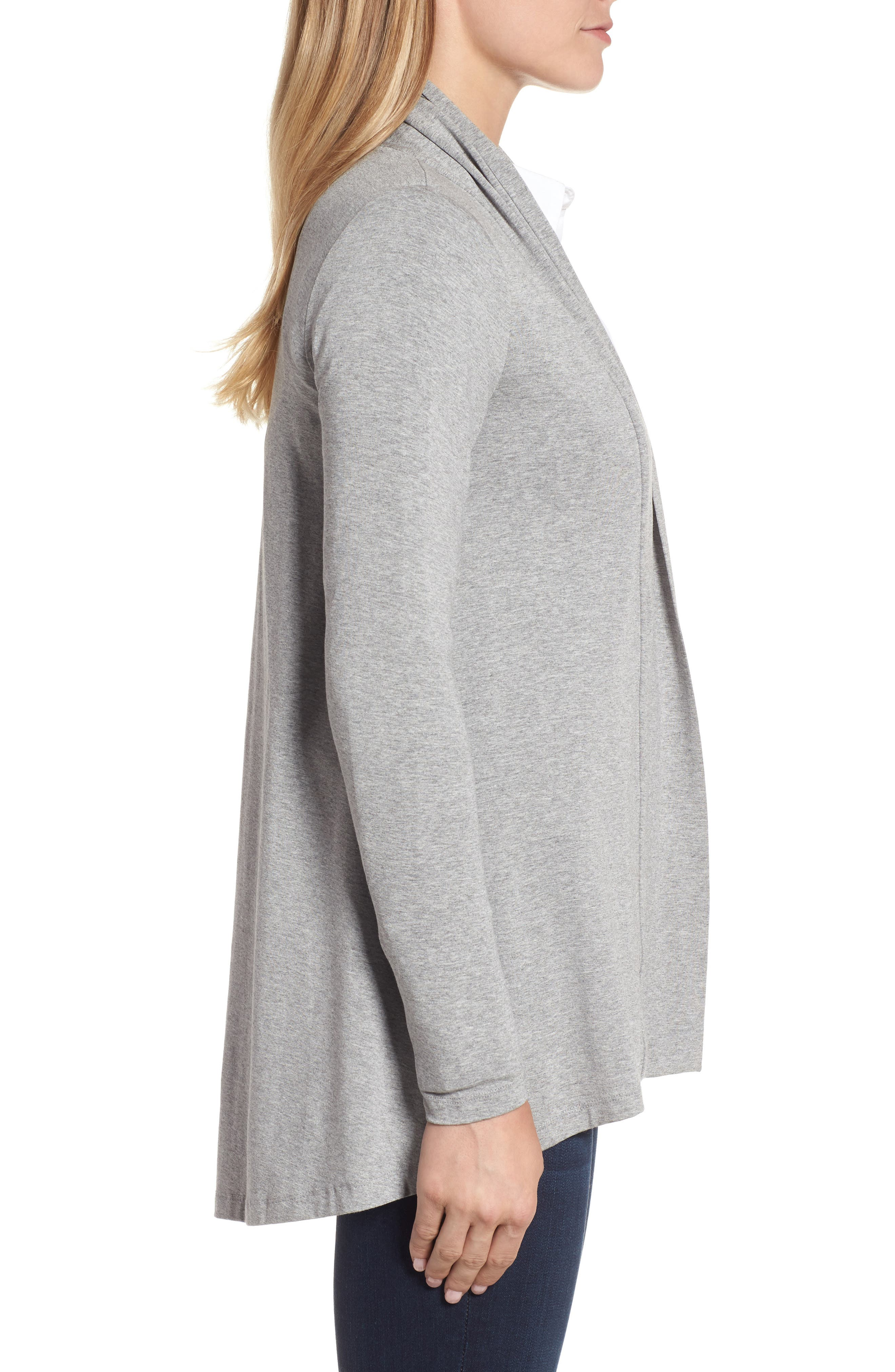 Open Front Cardigan,                             Alternate thumbnail 3, color,                             Light Heather Grey