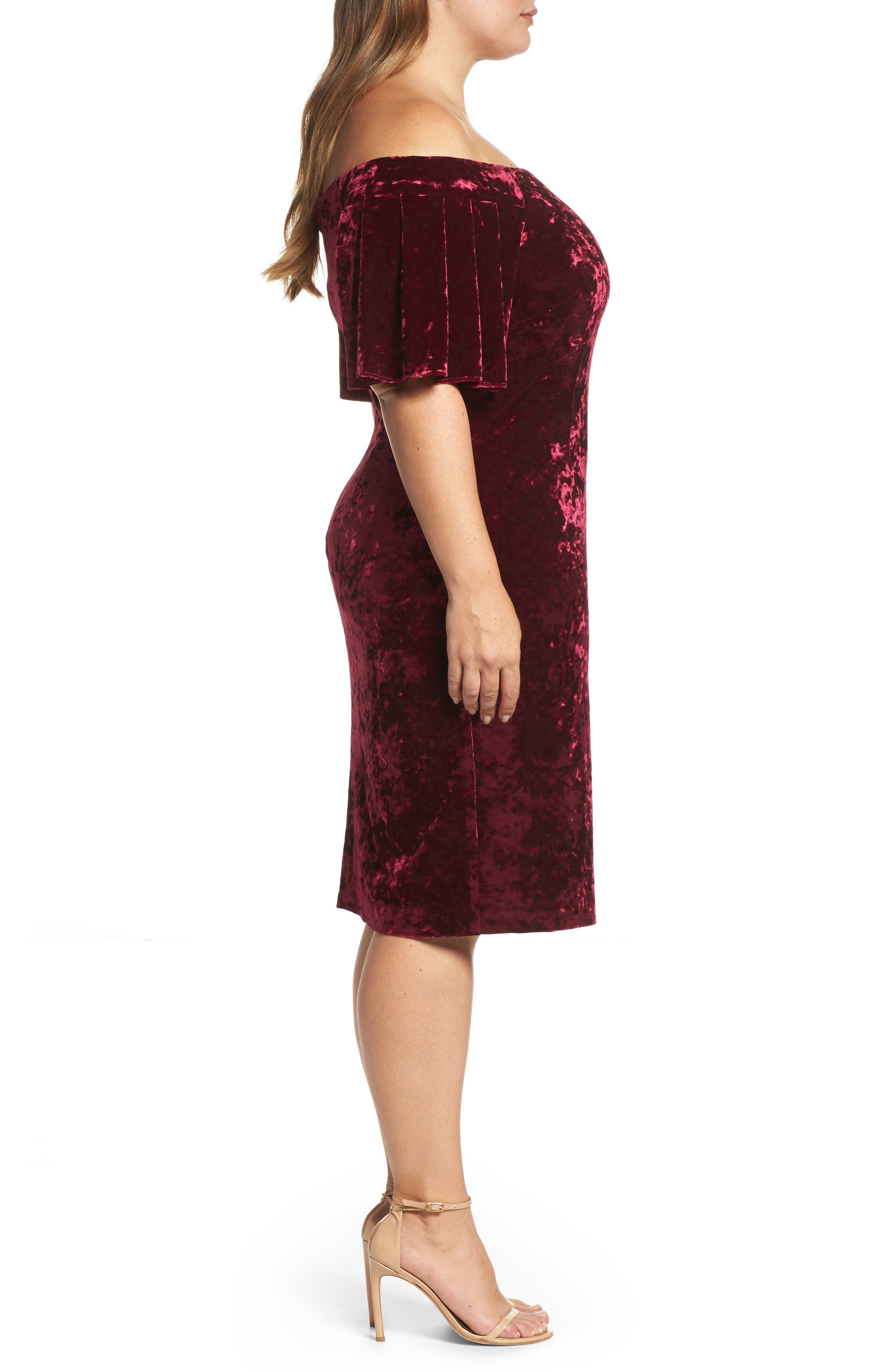Alternate Image 3  - Eliza J Off the Shoulder Velvet Sheath Dress (Plus Size)