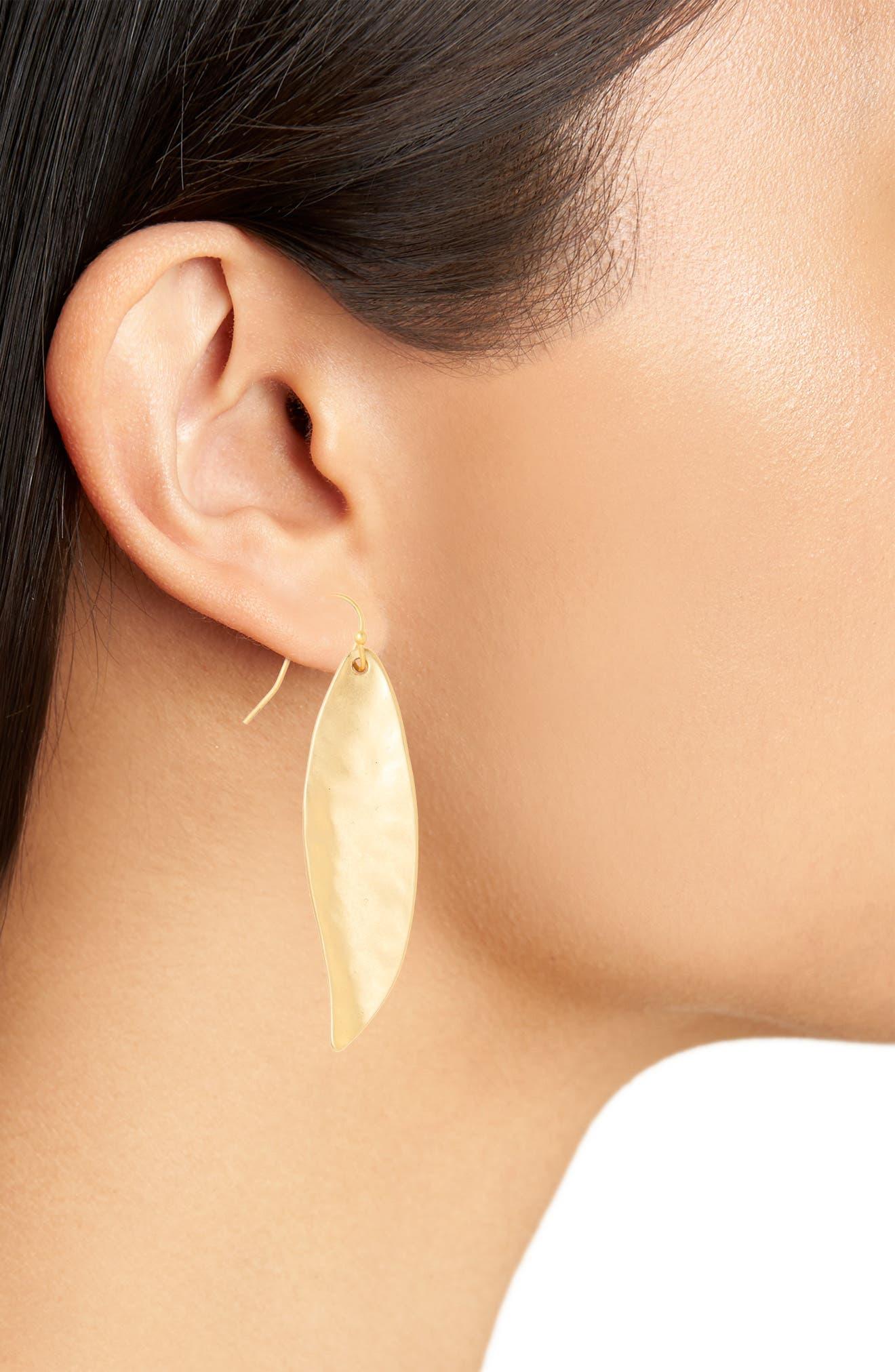 Ellipse Drop Earrings,                             Alternate thumbnail 2, color,                             Worn Gold