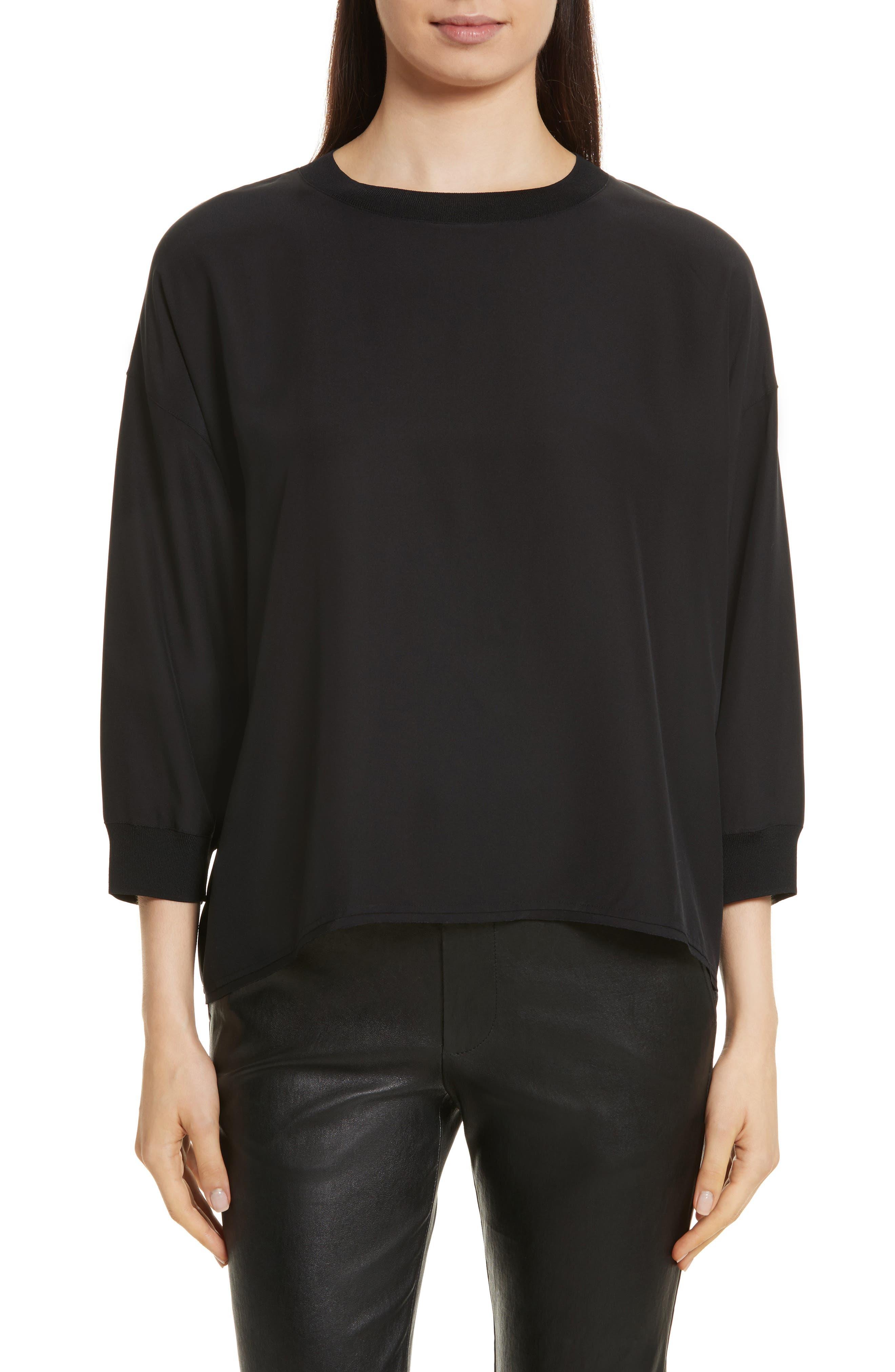 Rib Trim Silk Top,                         Main,                         color, Black