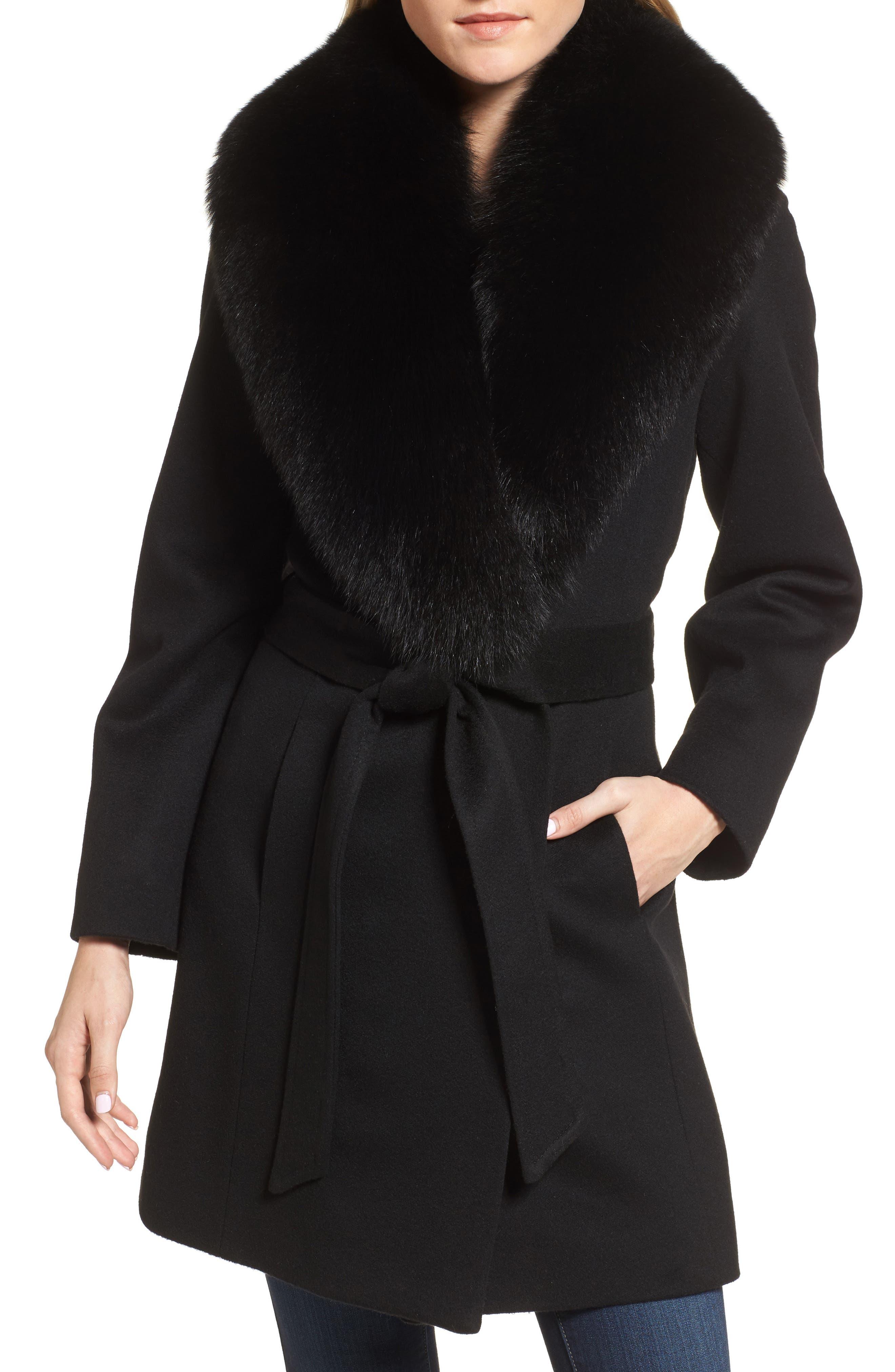 Genuine Fox Fur Lapel Wool & Cashmere Wrap Coat,                         Main,                         color, Black