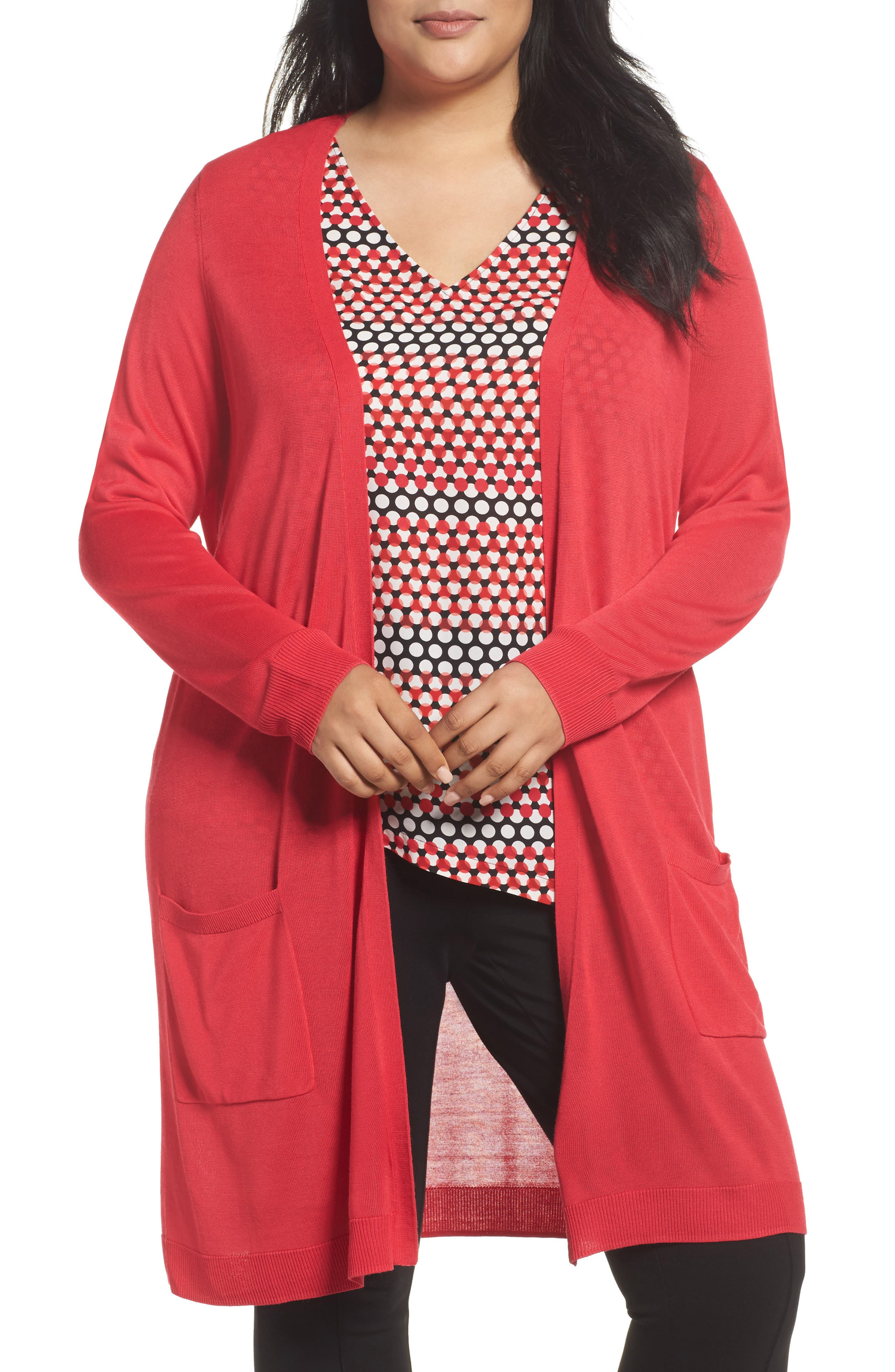 Long Cardigan,                         Main,                         color, Red Barberry